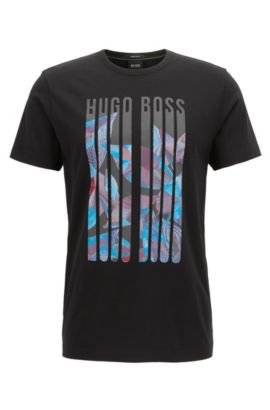 Camiseta regular fit de punto con estampado gráfico, Negro