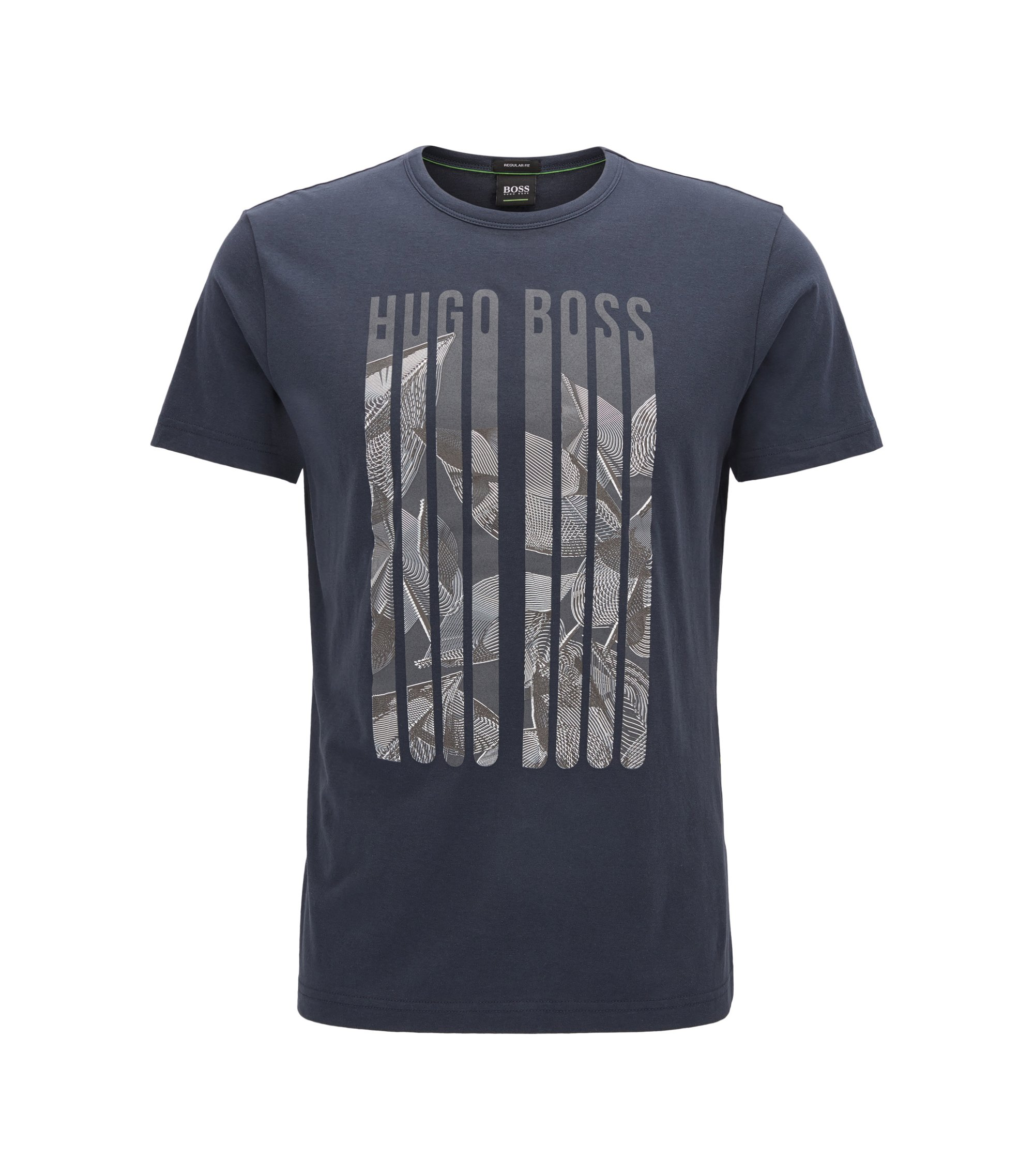 T-shirt regular fit in jersey con stampa grafica, Blu scuro