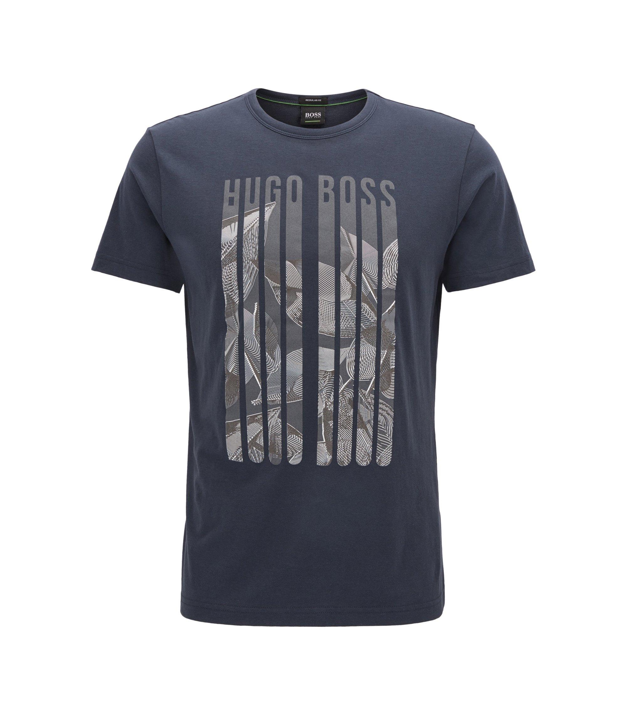 Camiseta regular fit de punto con estampado gráfico, Azul oscuro