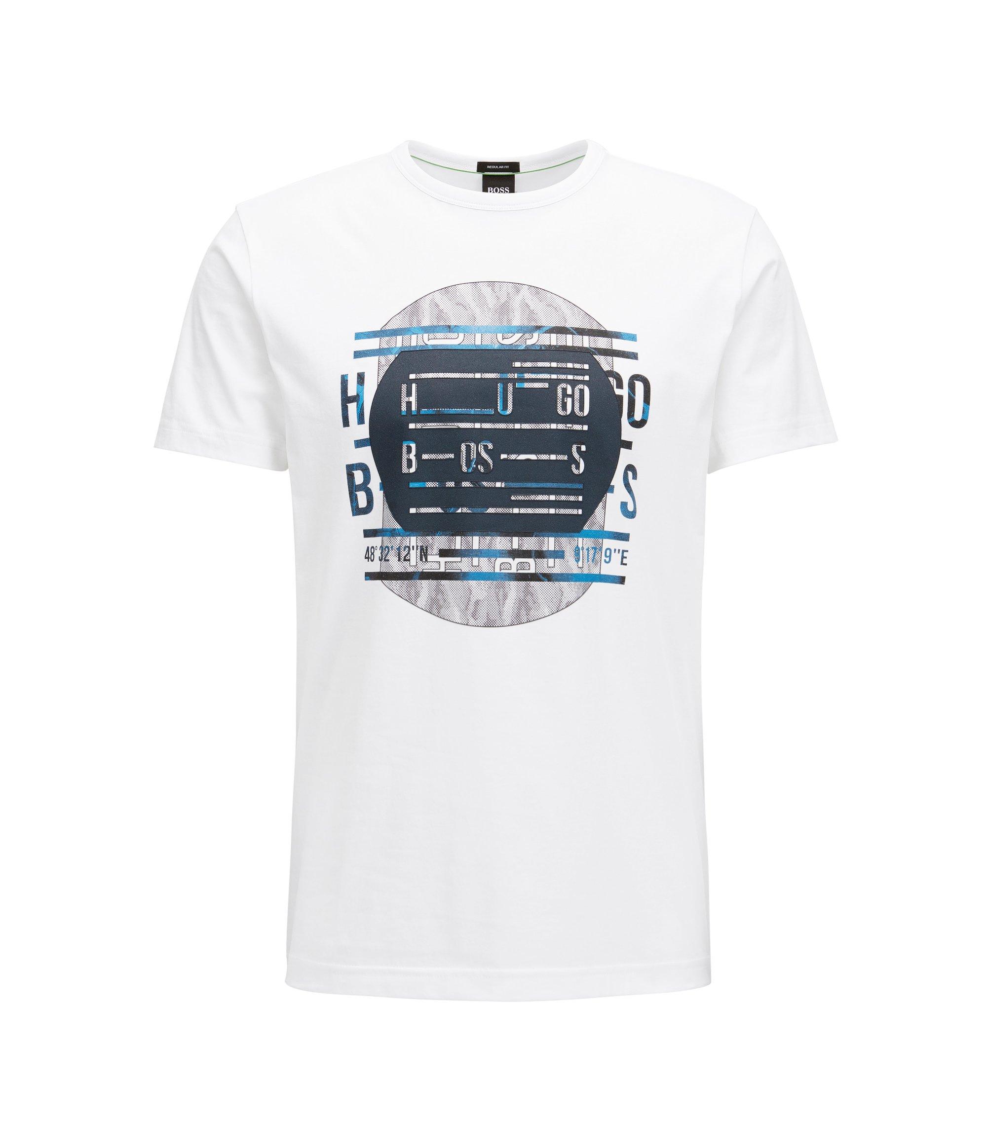 Regular-Fit T-Shirt aus reiner Baumwolle mit Logo, Weiß