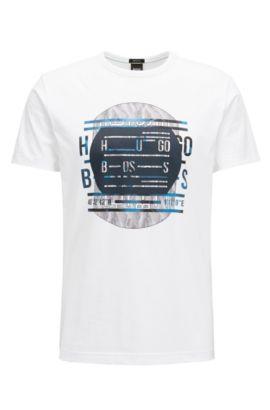 Camiseta regular fit con logo en puro algodón, Blanco