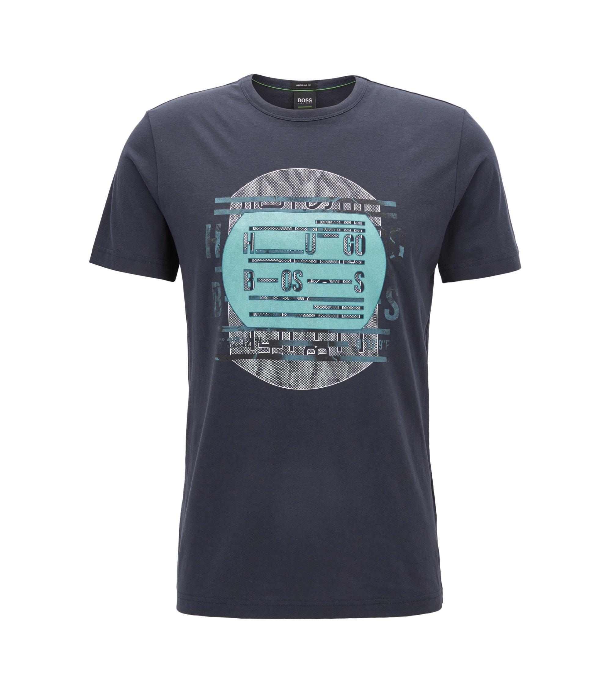 Regular-fit T-shirt van zuivere katoen met logo, Donkerblauw