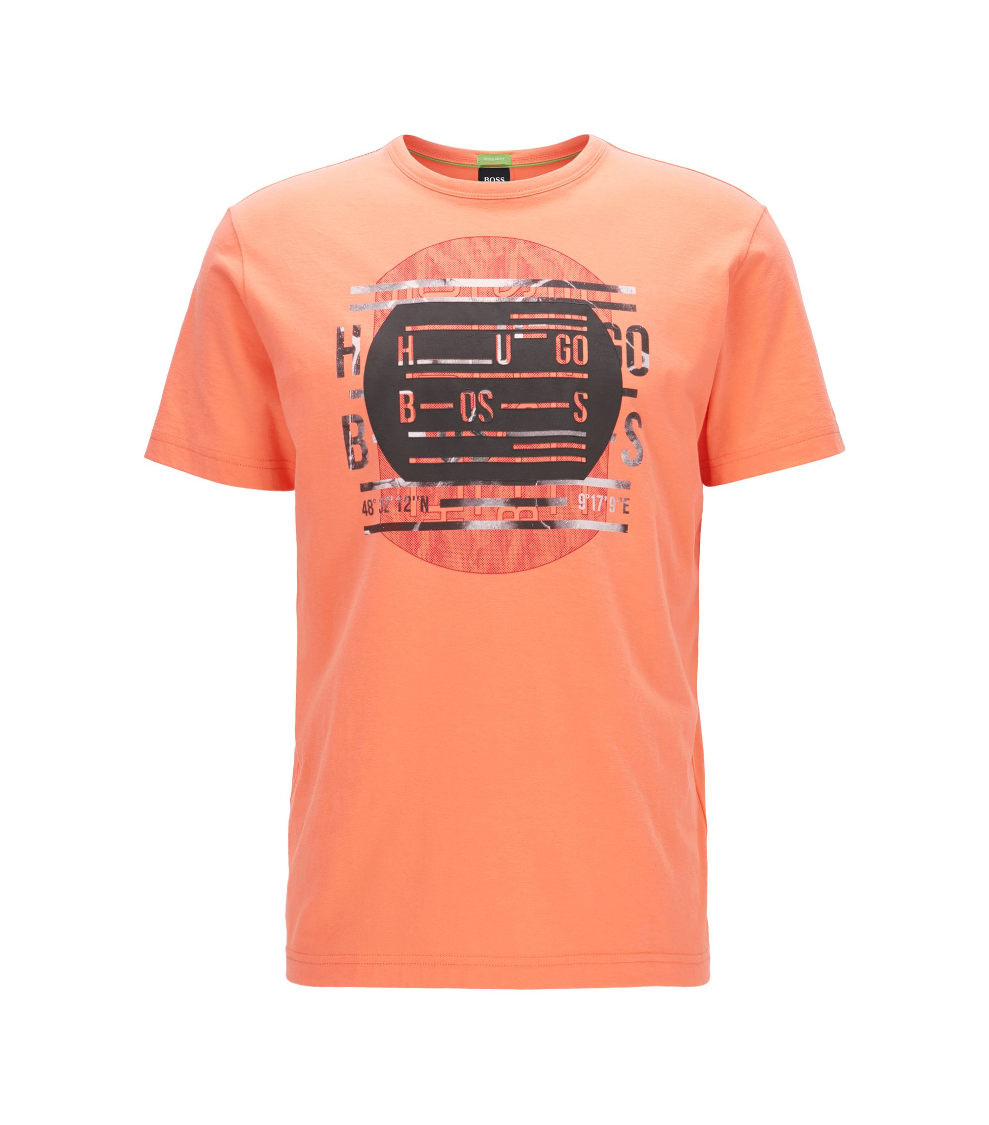 T-shirt Regular Fit en pur coton orné du logo, Orange clair
