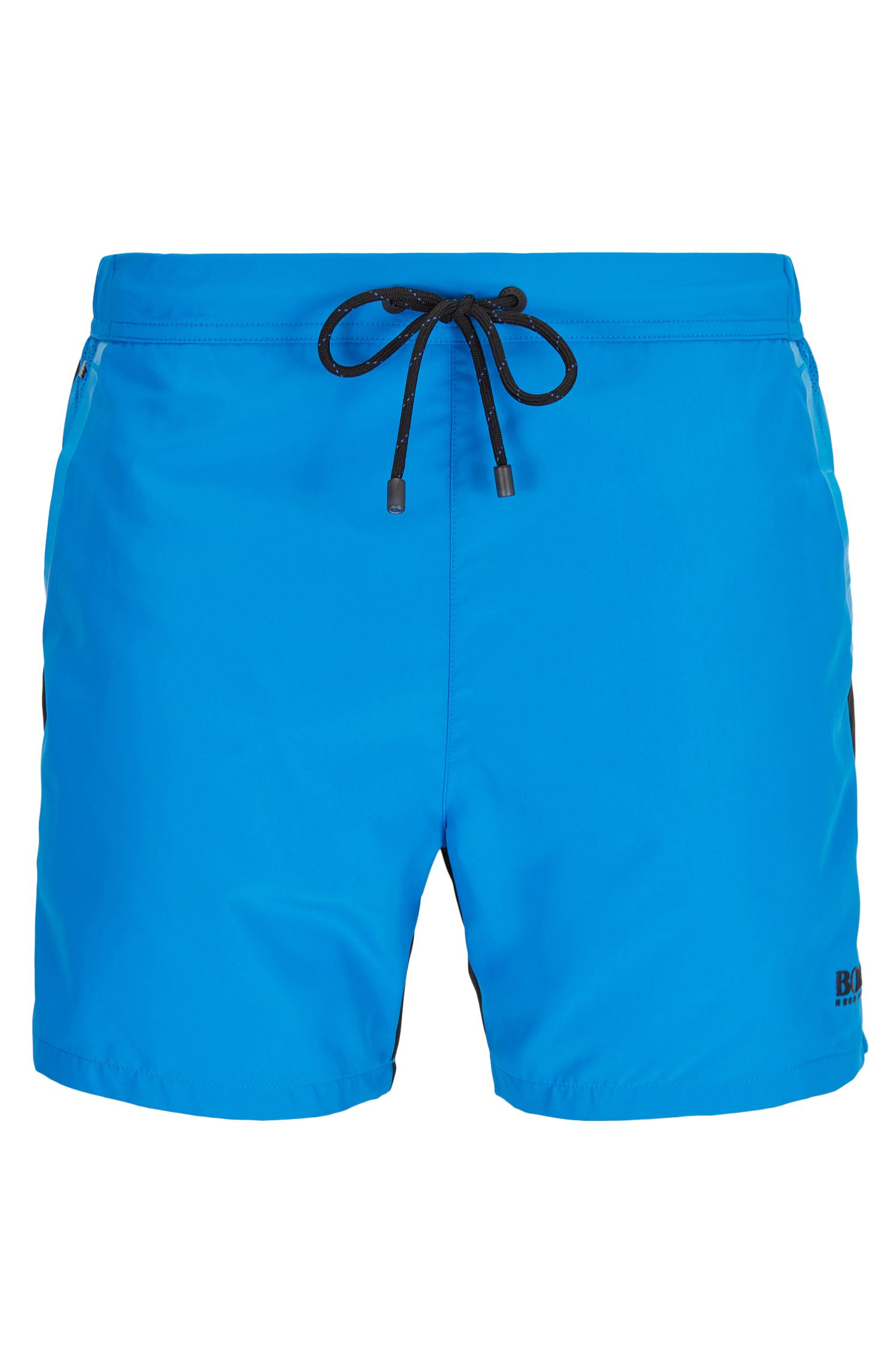 Quick-drying medium-length swim shorts with semi-elastic waistband