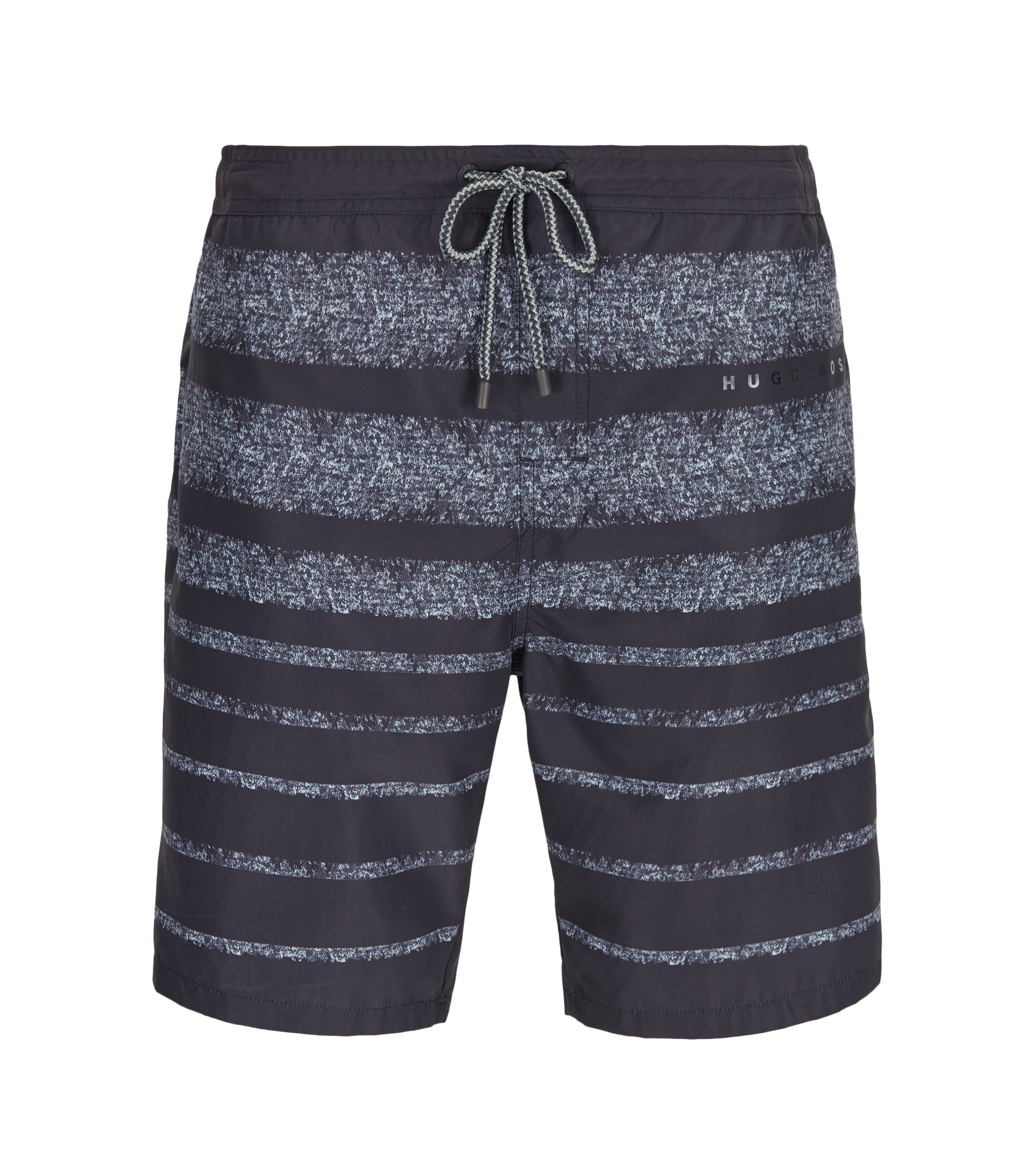 Striped long-length swim shorts in a quick-drying technical fabric, Dark Grey