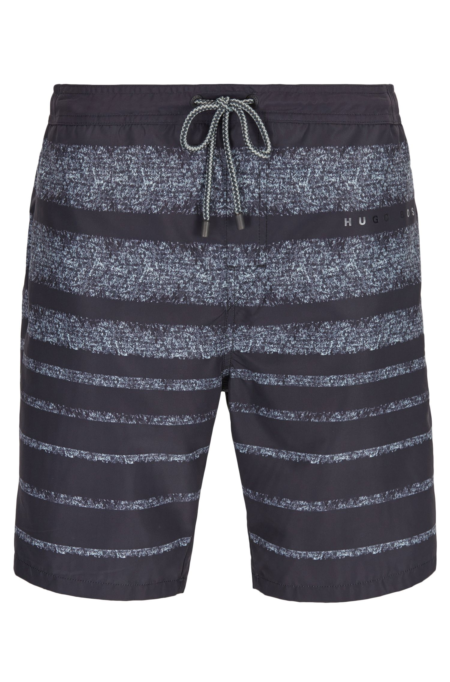 Striped long-length swim shorts in a quick-drying technical fabric