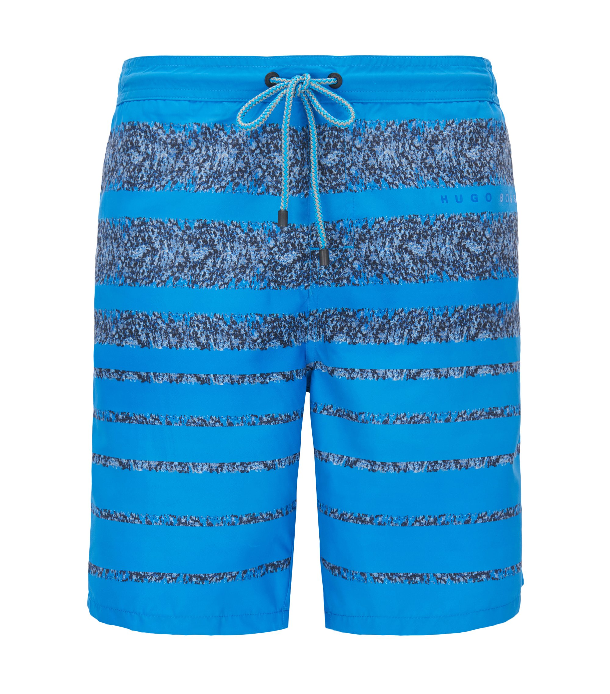 Striped long-length swim shorts in a quick-drying technical fabric, Turquoise
