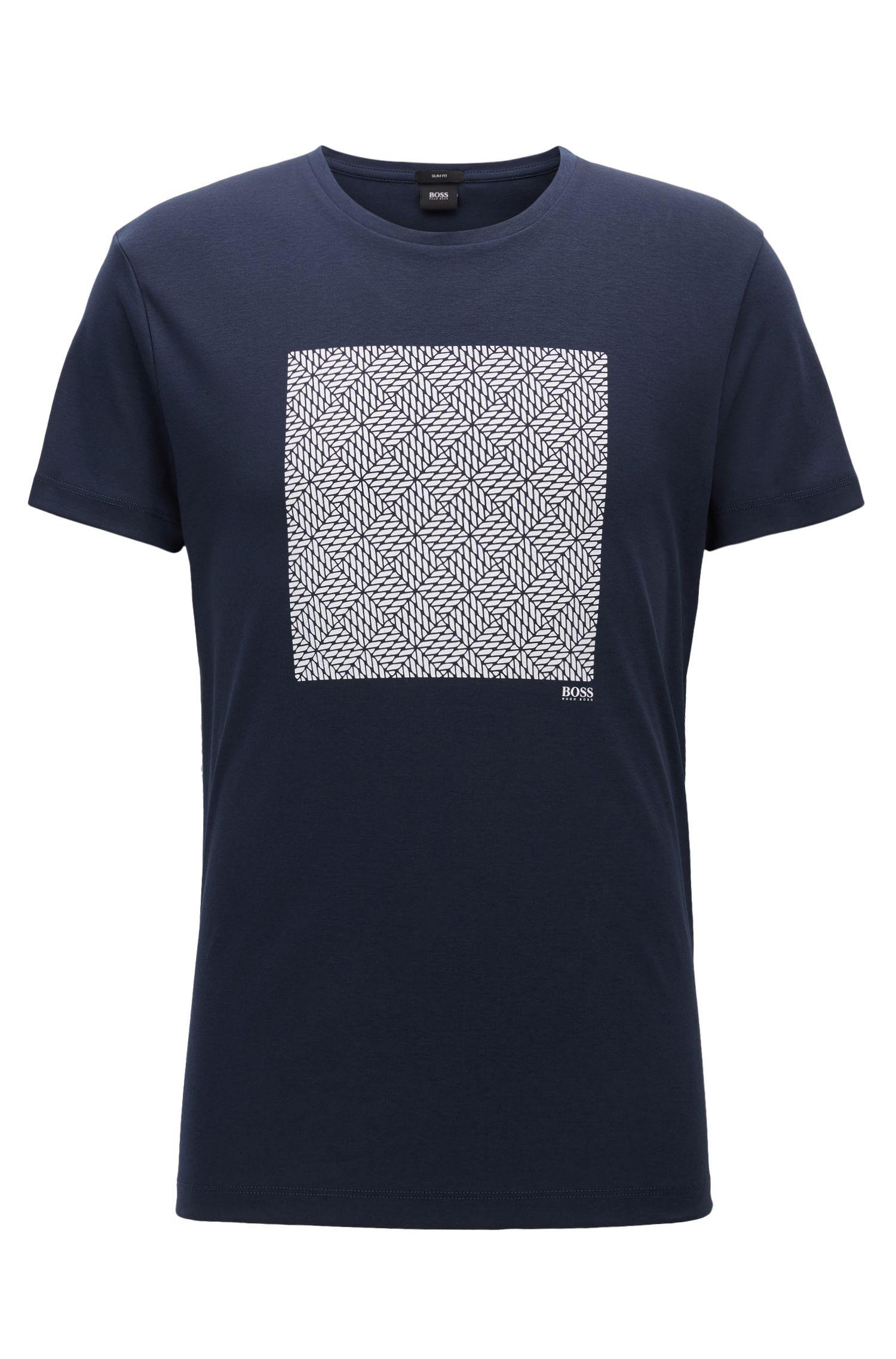 Slim-fit T-shirt van katoen met print op de voorkant