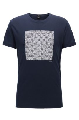 Slim-fit cotton T-shirt with front print, Dark Blue