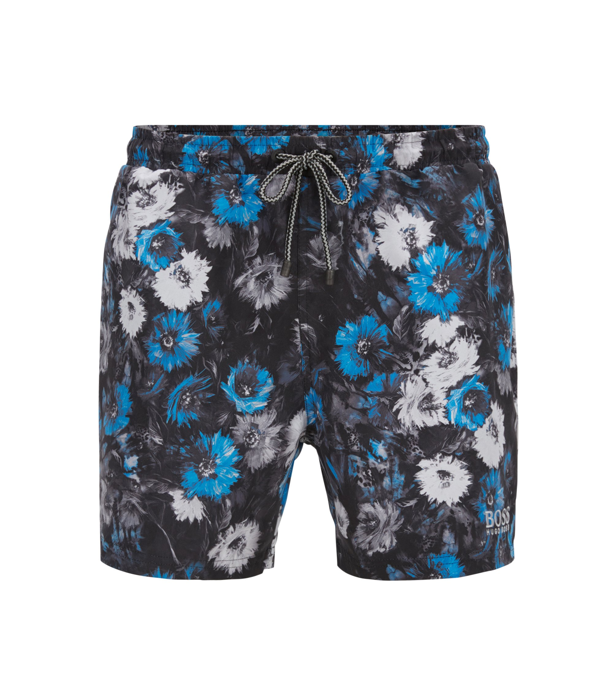 Floral-print swim shorts in a brushed technical fabric, Open Grey