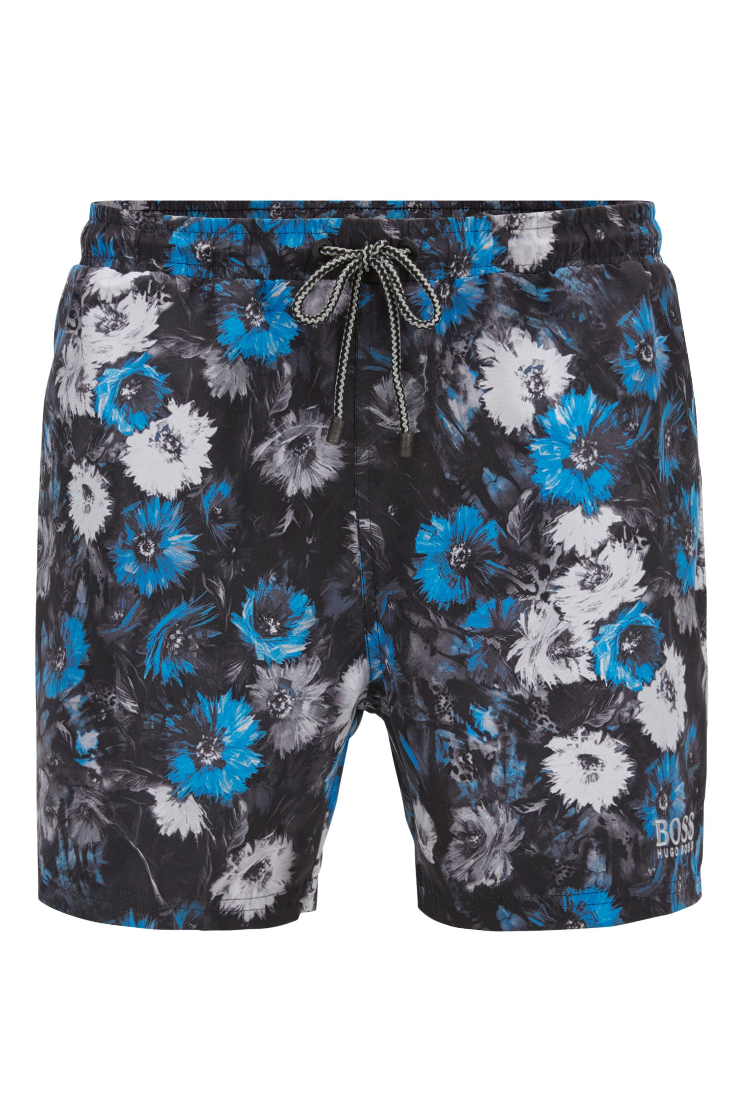 Floral-print swim shorts in a brushed technical fabric