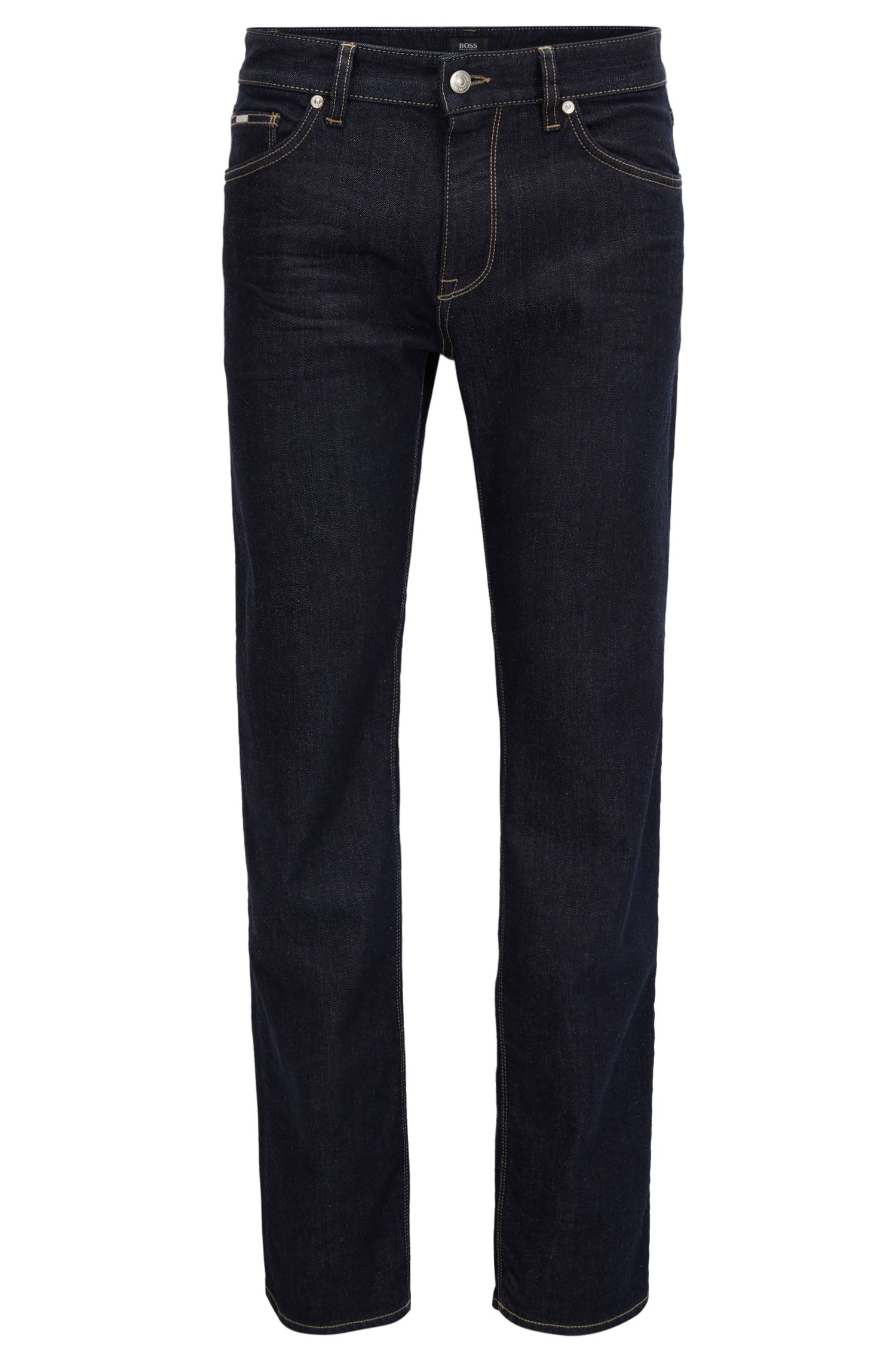 Regular-Fit Jeans aus komfortablem Baumwoll-Mix mit Elasthan, Dunkelblau