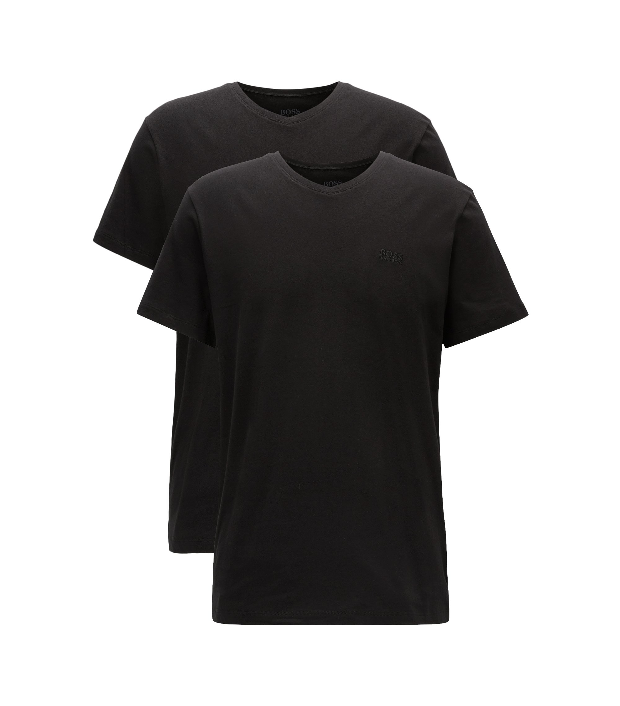 Lot de deux t-shirts Relaxed Fit à col V en coton, Noir