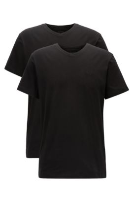 Two-pack of relaxed-fit V-neck cotton T-shirts, Black
