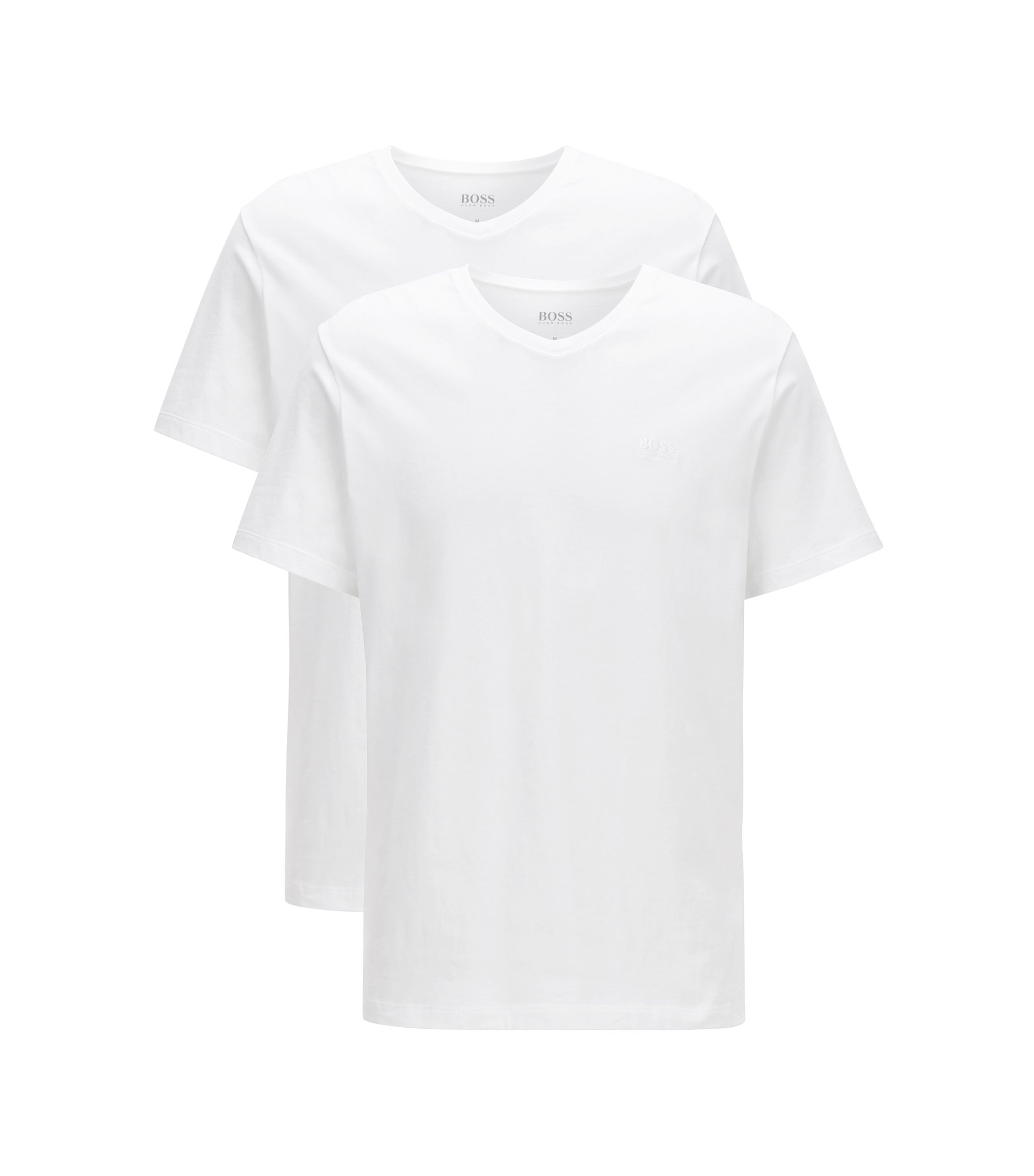Lot de deux t-shirts Relaxed Fit à col V en coton, Blanc