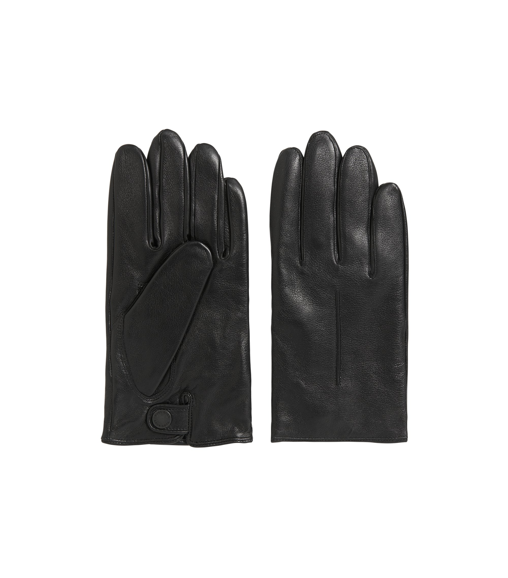 Lightweight leather gloves with wool-blend lining, Black