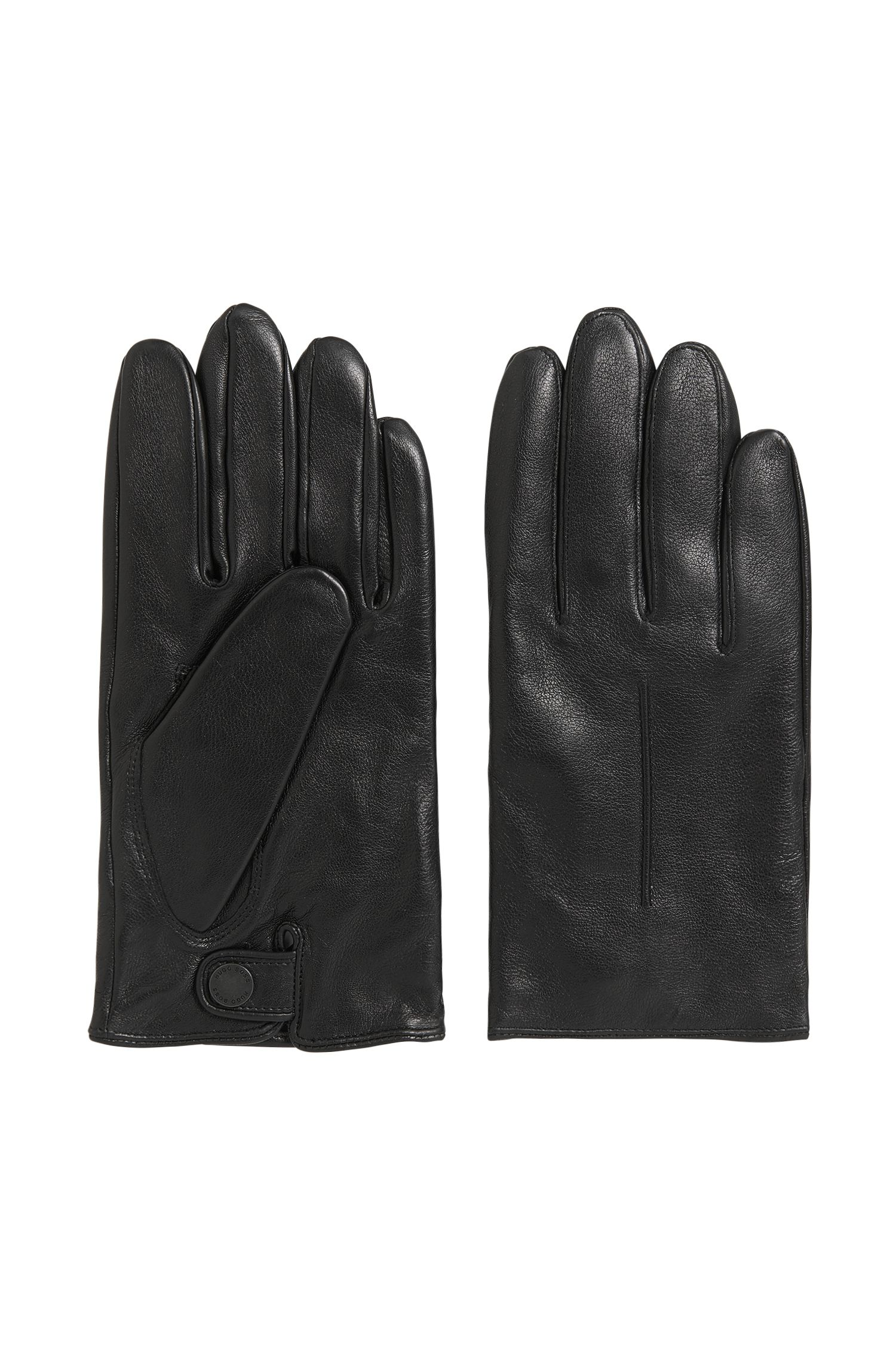 Lightweight leather gloves with wool-blend lining
