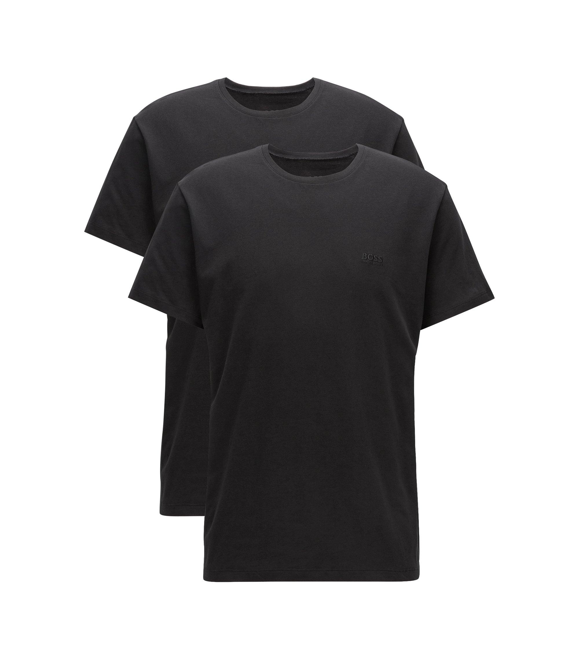 Paquete de dos camisetas relaxed fit en algodón con cuello redondo, Negro