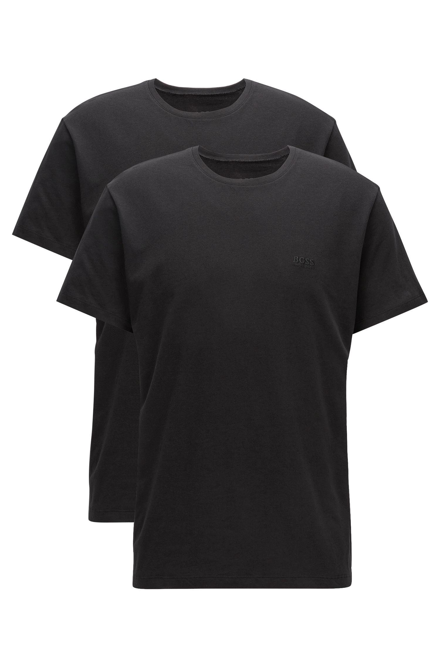 Lot de deux t-shirts Relaxed Fit à col ras-du-cou en coton, Noir