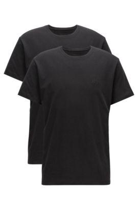 T-shirt relaxed fit in cotone a girocollo in confezione doppia, Nero