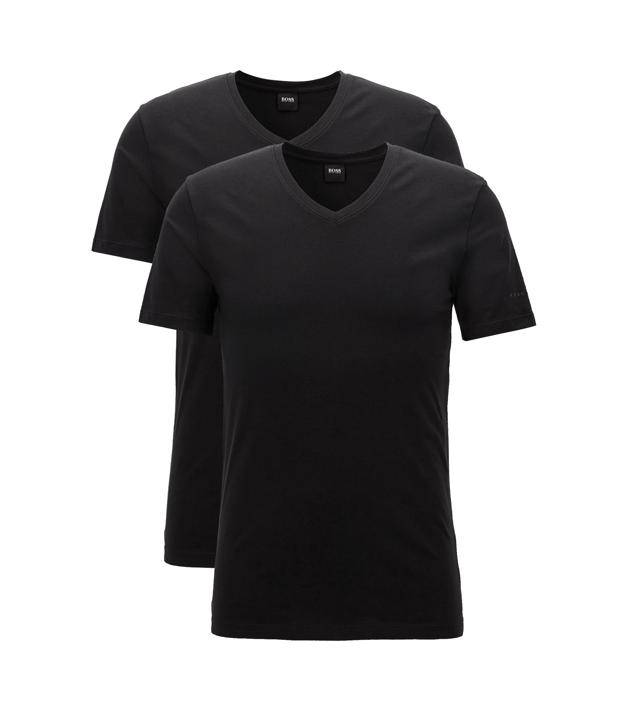 Two-pack of regular-fit V-neck T-shirts in stretch cotton jersey, Black