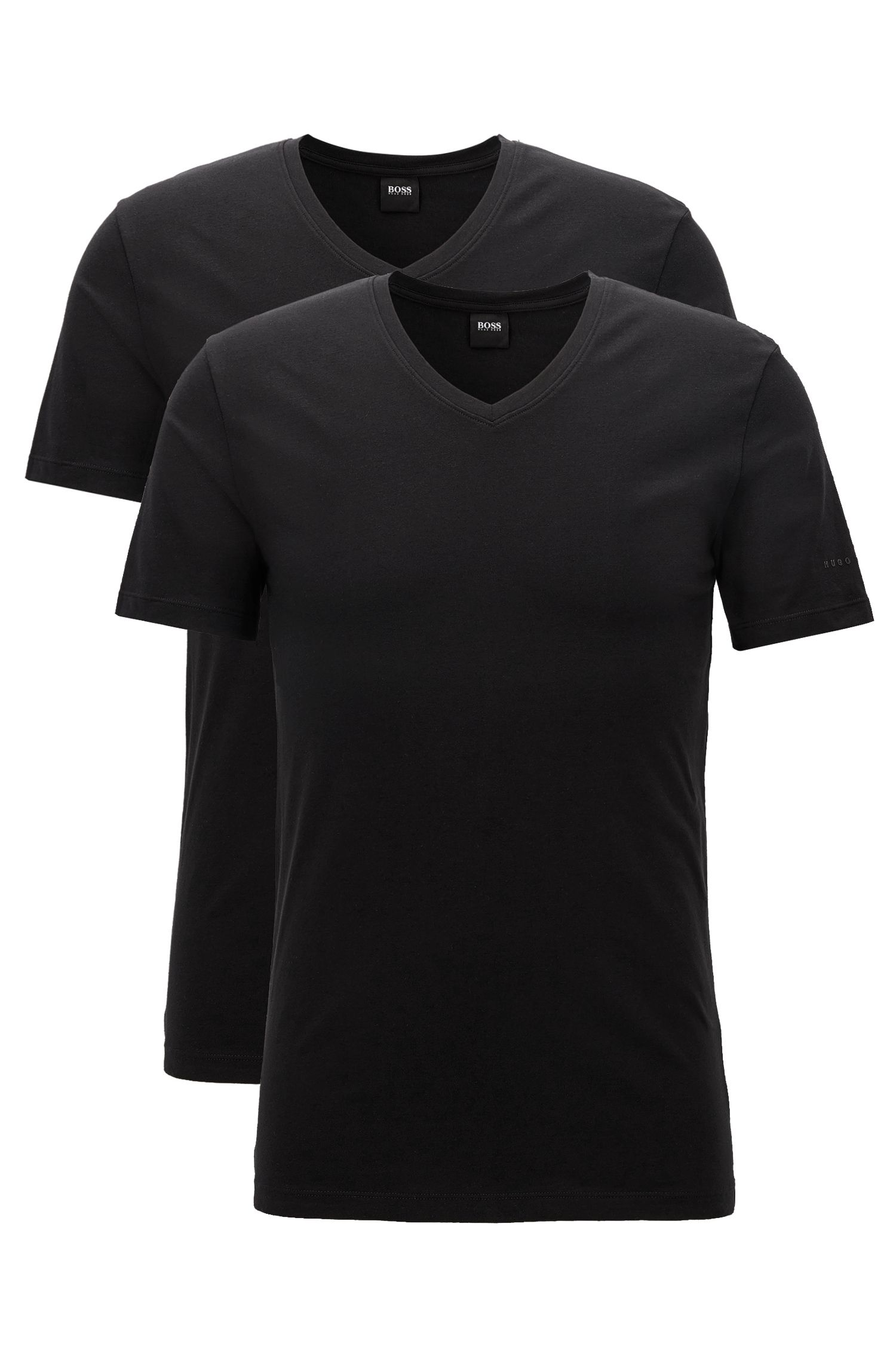 Two-pack of regular-fit V-neck T-shirts in stretch cotton jersey