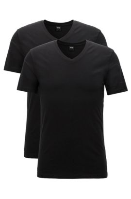 Two-pack of regular-fit V-neck T-shirts in stretch cotton jersey, Zwart