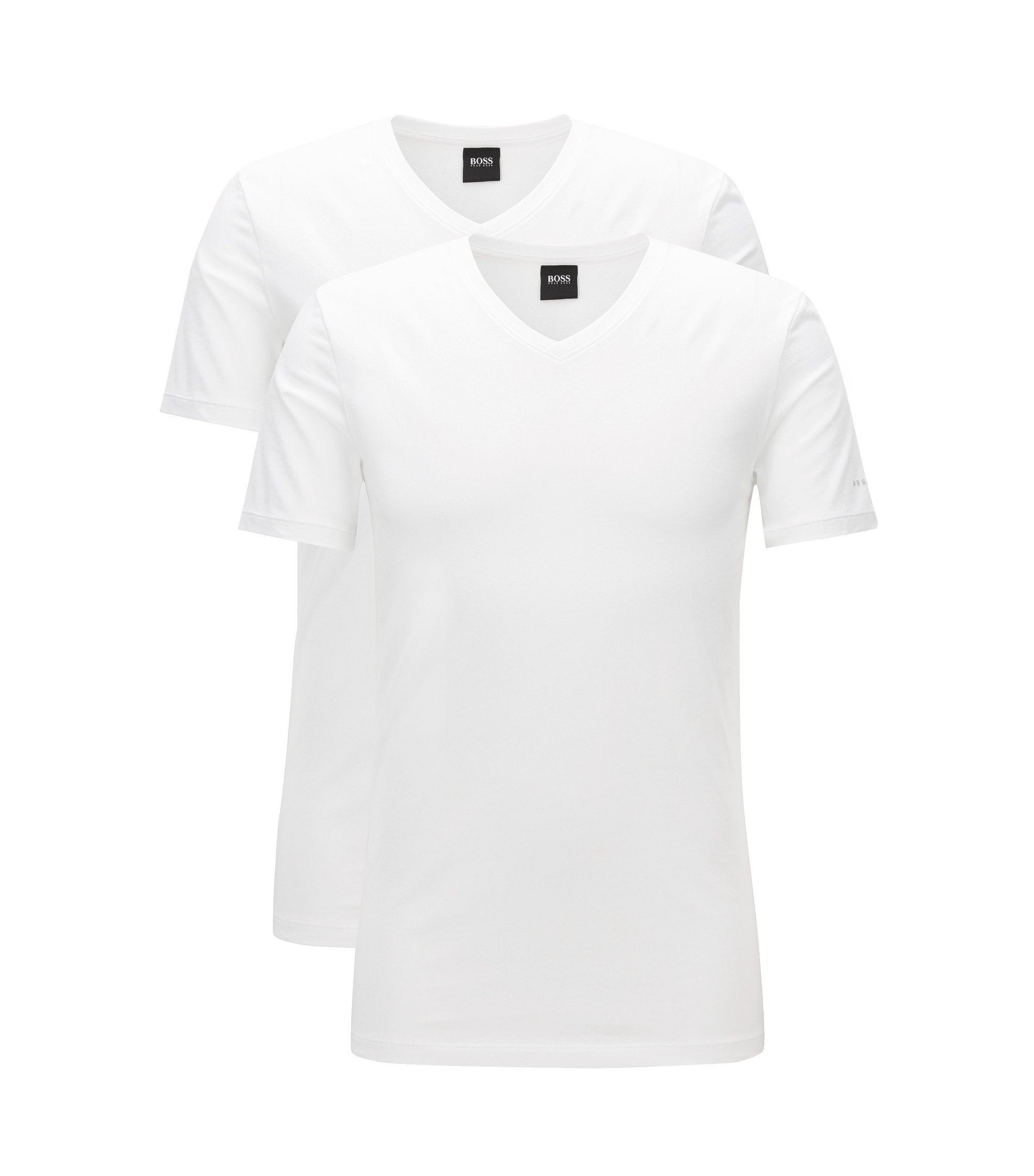 Lot de deux t-shirts Regular Fit à col V en jersey de coton stretch, Blanc