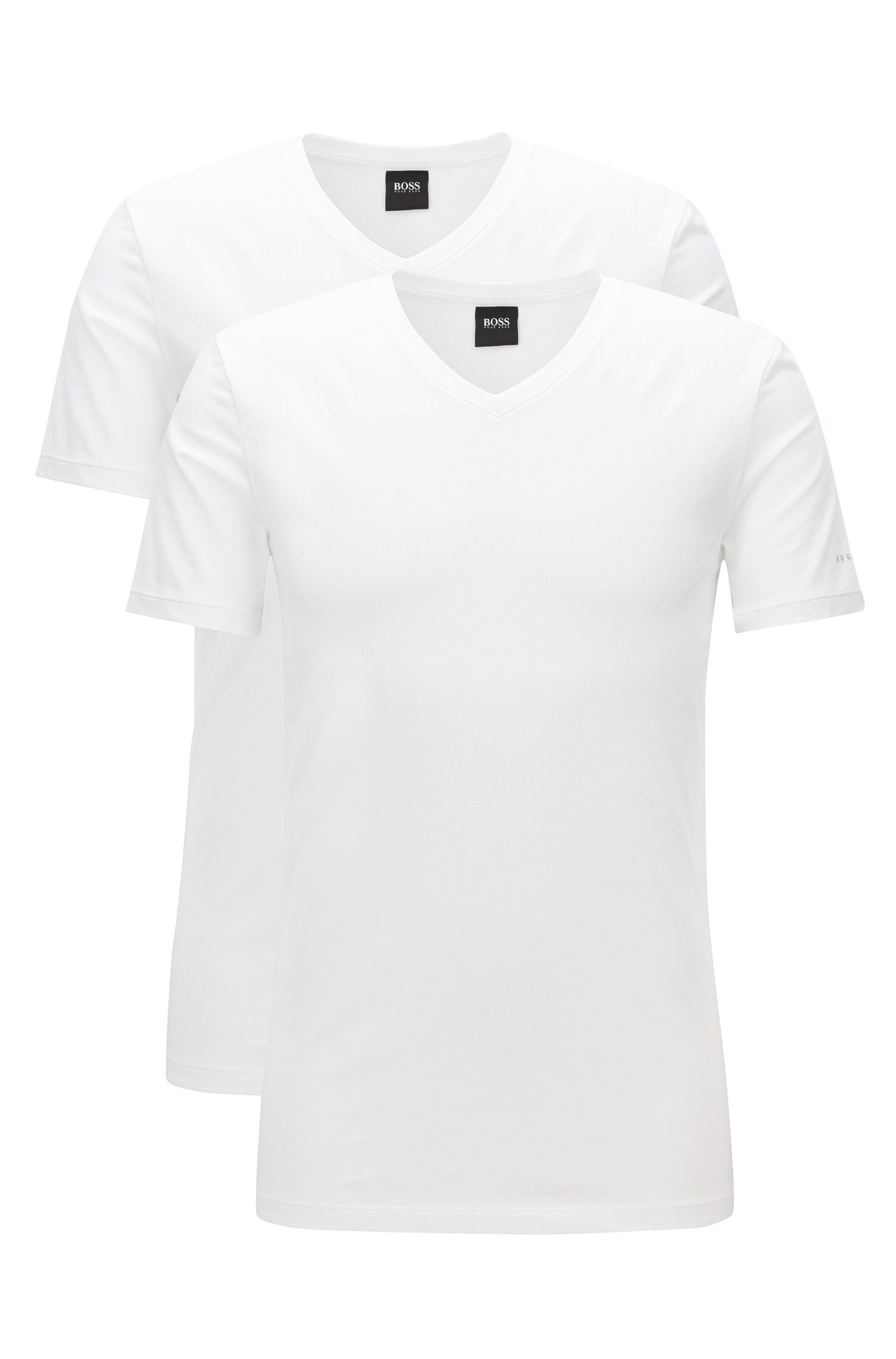 Set van twee regular-fit T-shirts met V-hals, van katoenjersey met stretch