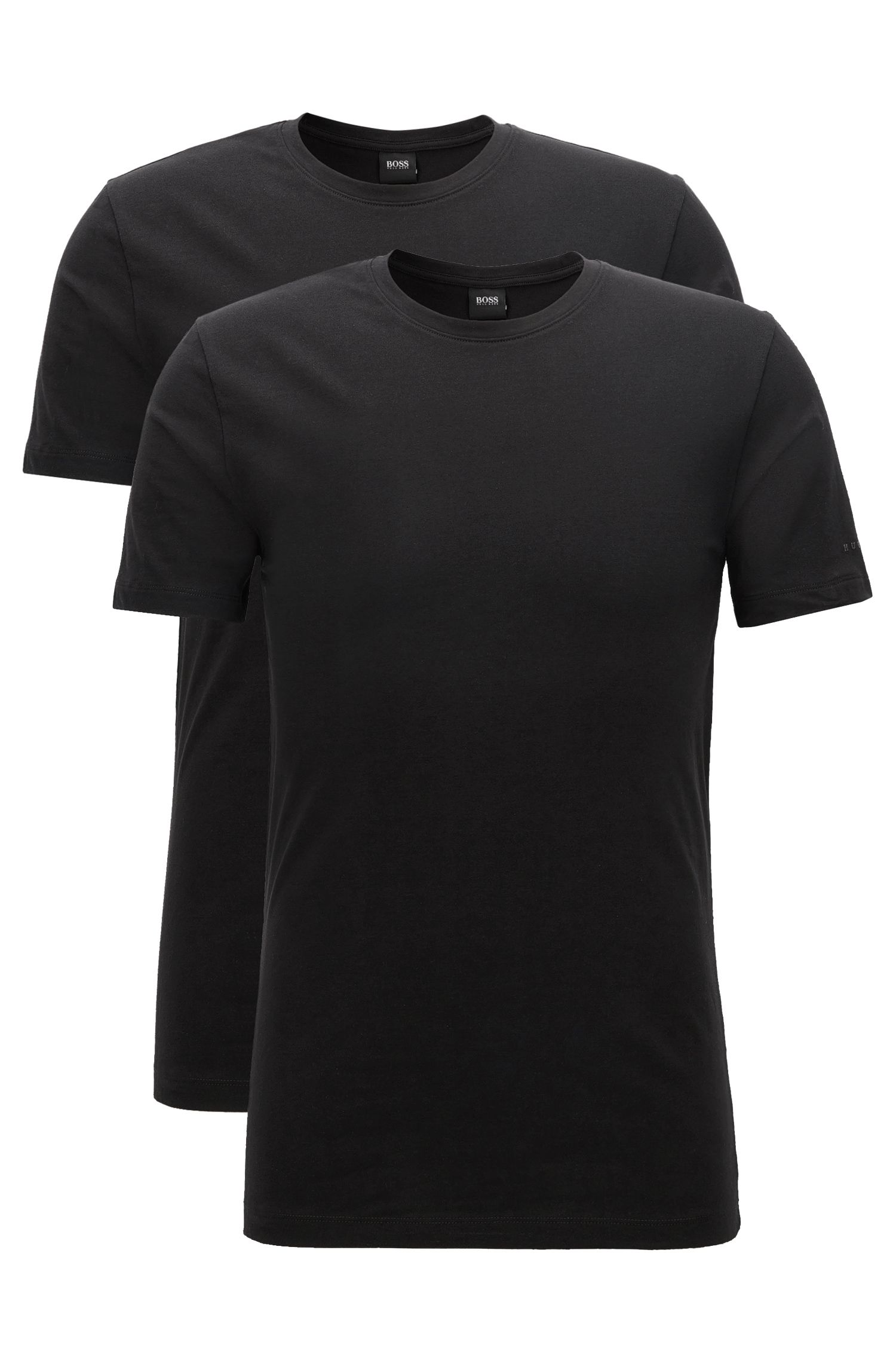 Two-pack regular-fit crew-neck T-shirts in stretch cotton jersey