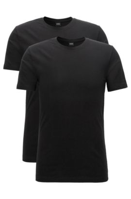 Lot de deux t-shirts Regular Fit à col ras-du-cou en jersey de coton stretch, Noir