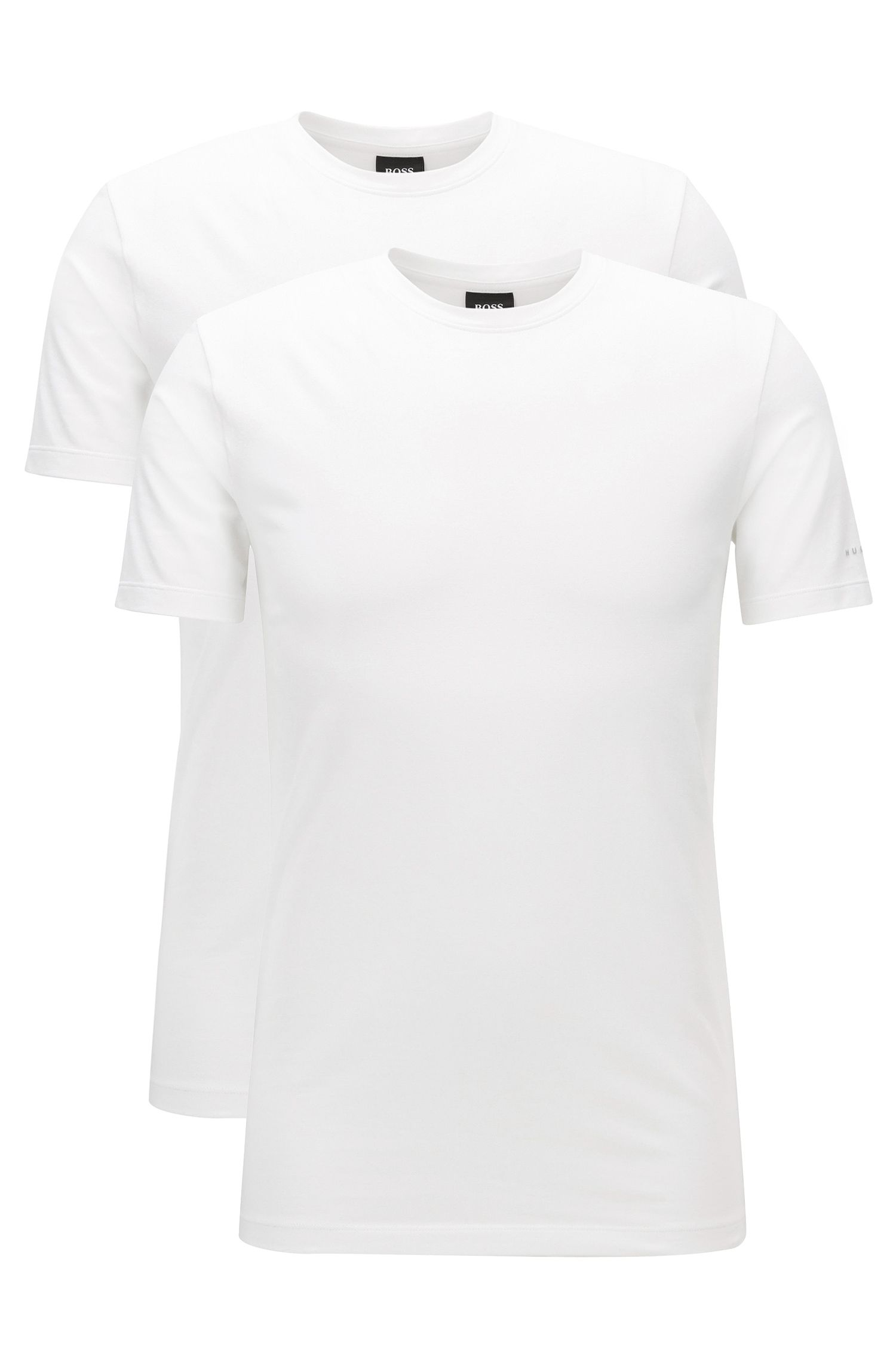 Lot de deux t-shirts Regular Fit à col ras-du-cou en jersey de coton stretch