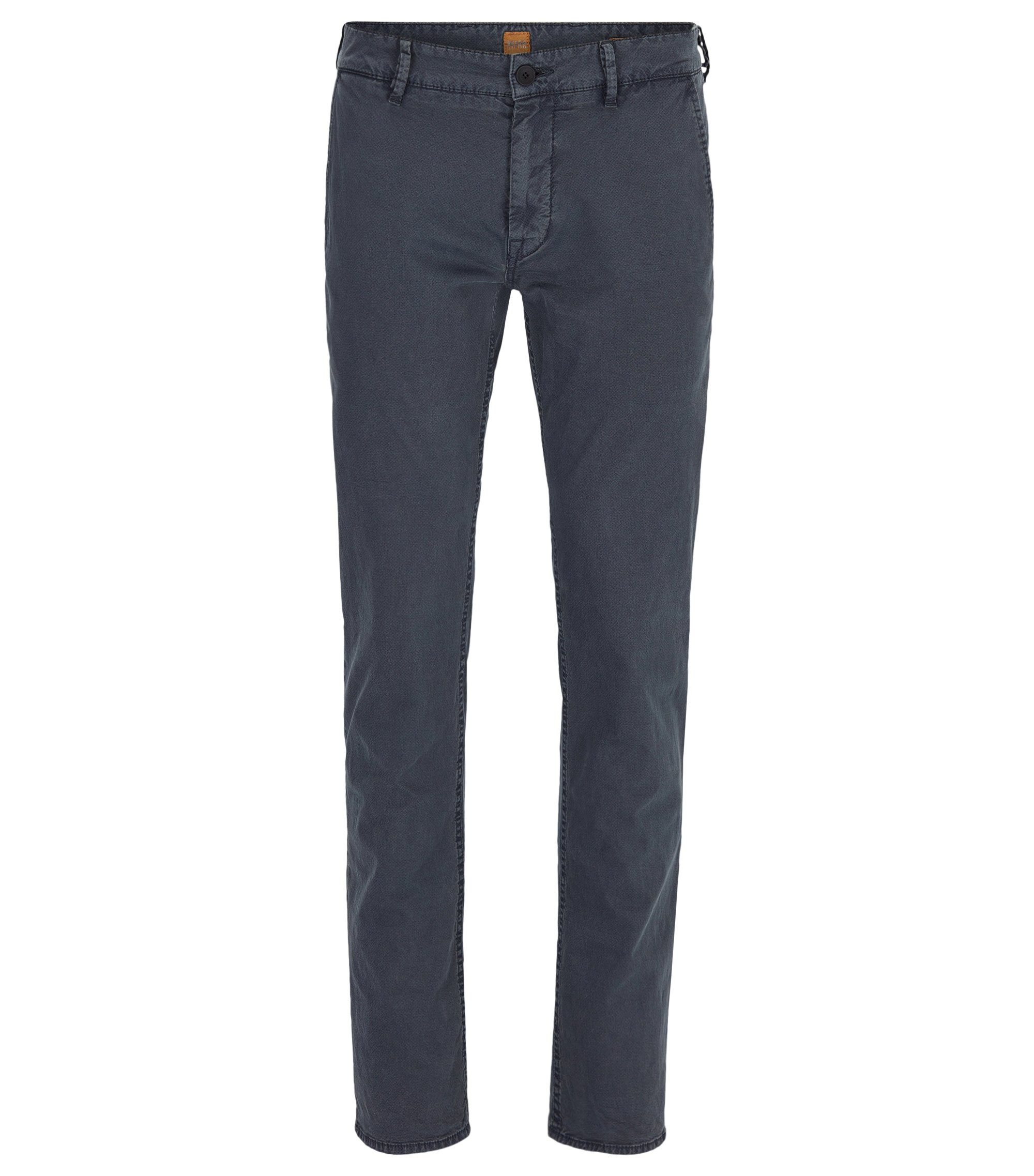 Pantalon Slim Fit en coton italien stretch, Bleu foncé