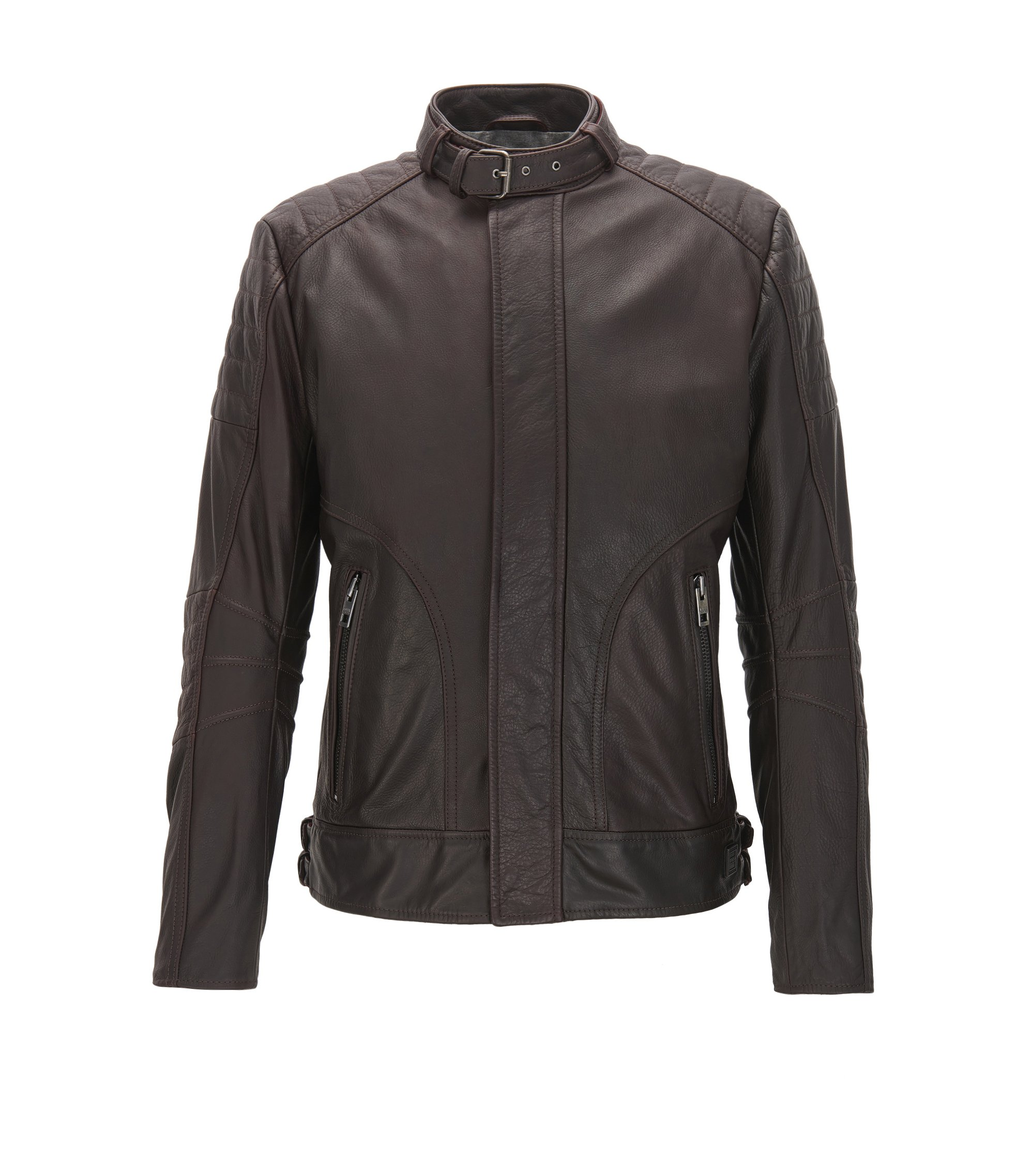Slim-fit quilted biker jacket in pull-up leather, Dark Red