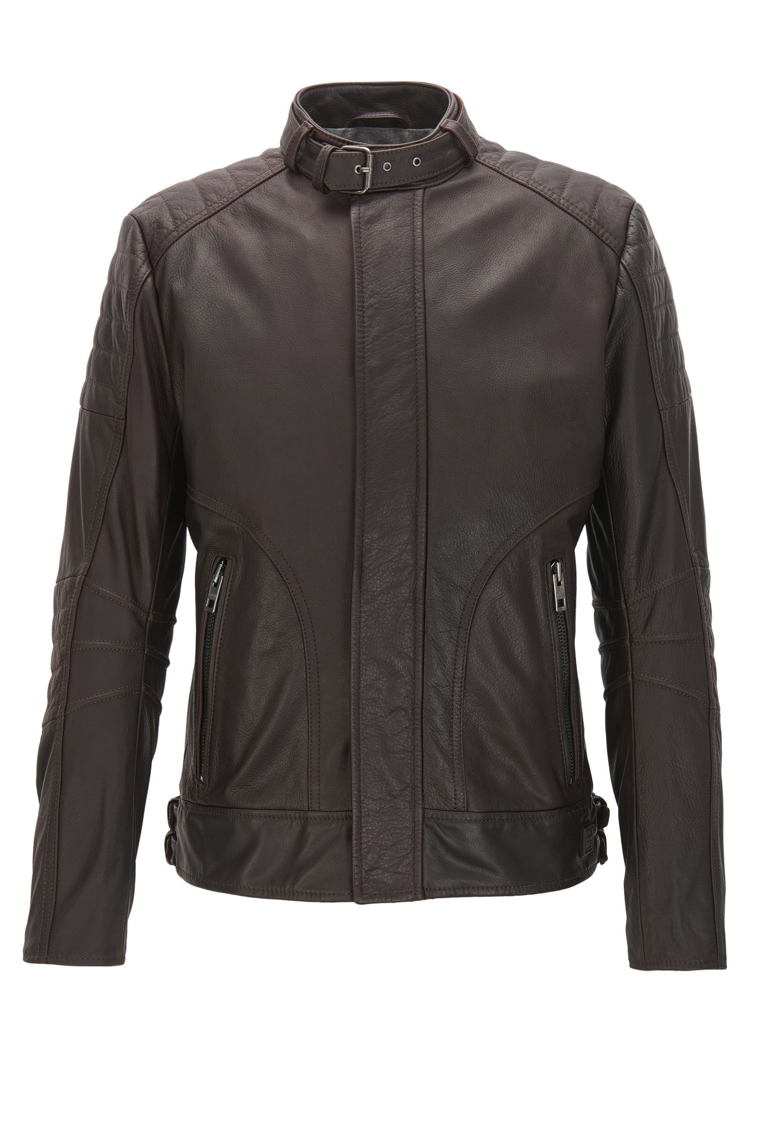 Blouson de motard Slim Fit matelassé en cuir pull-up