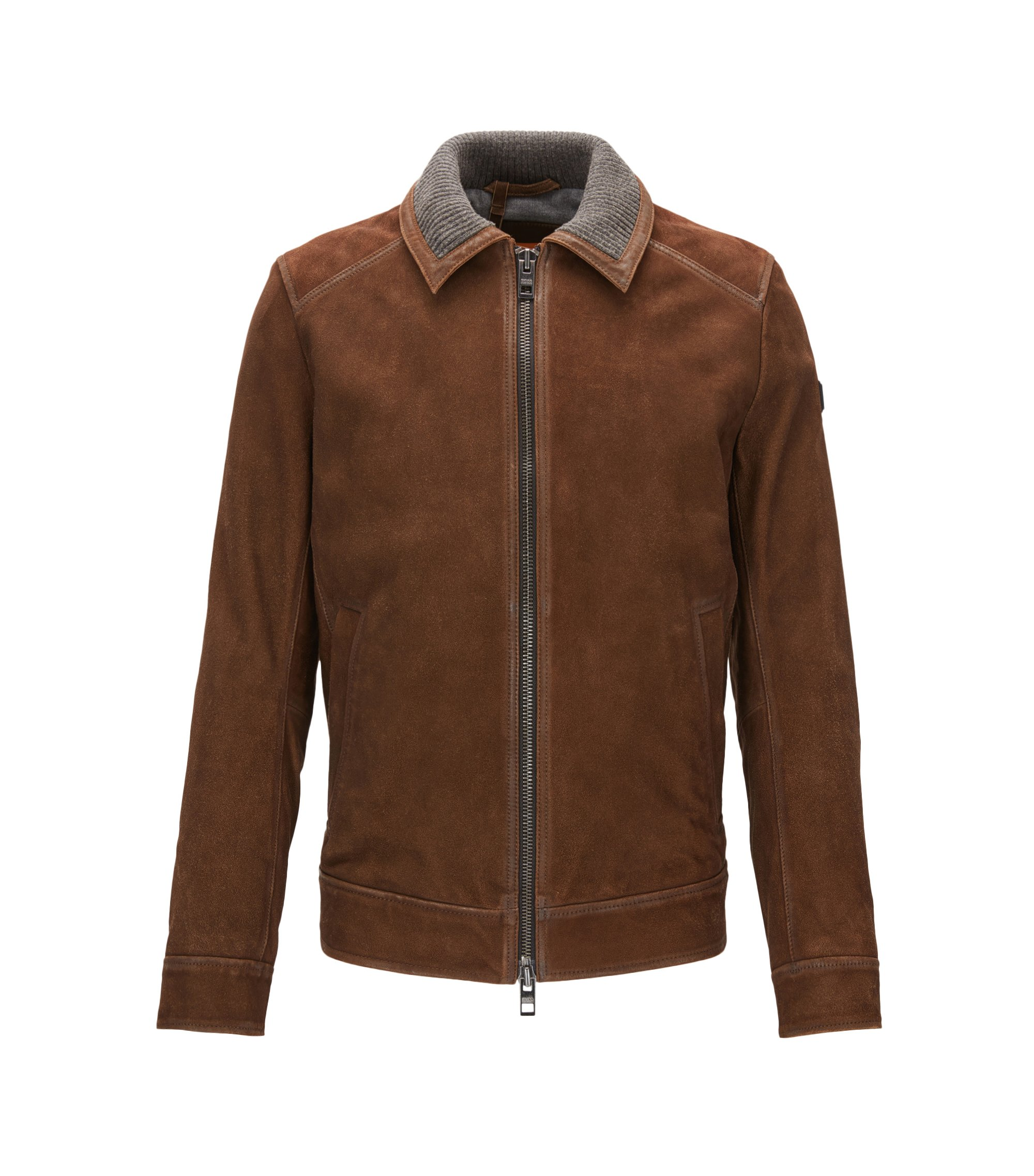 Slim-fit suede jacket with knitted inner collar, Brown