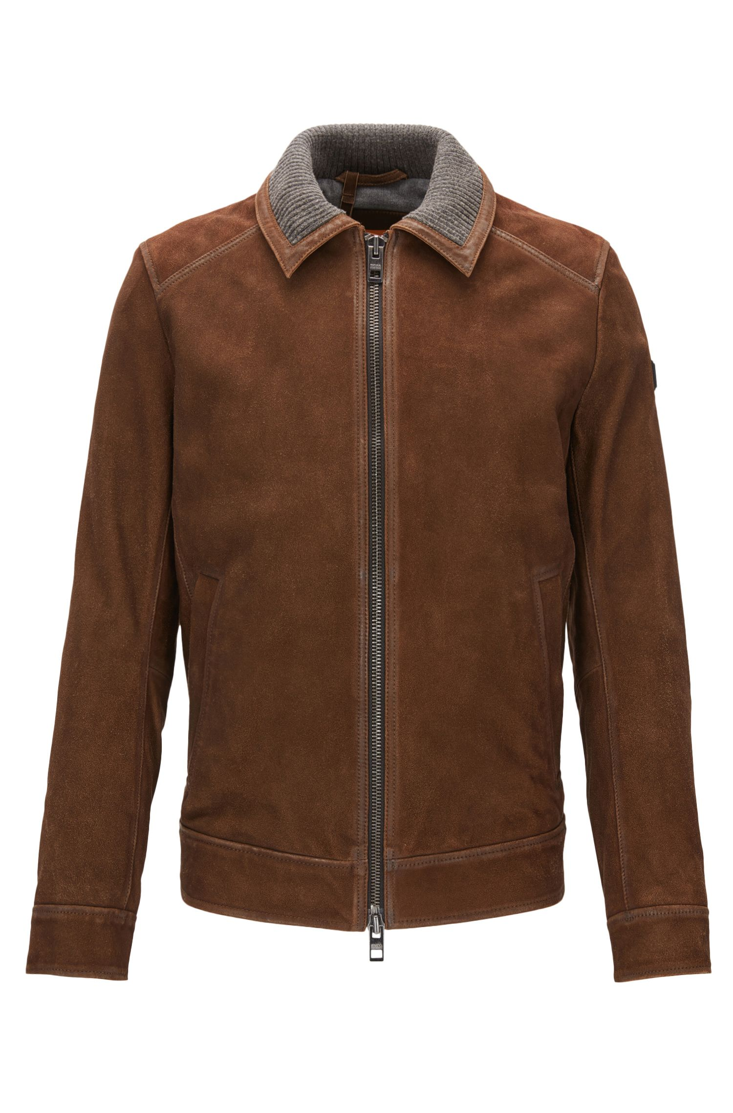 Slim-fit suede jacket with knitted inner collar