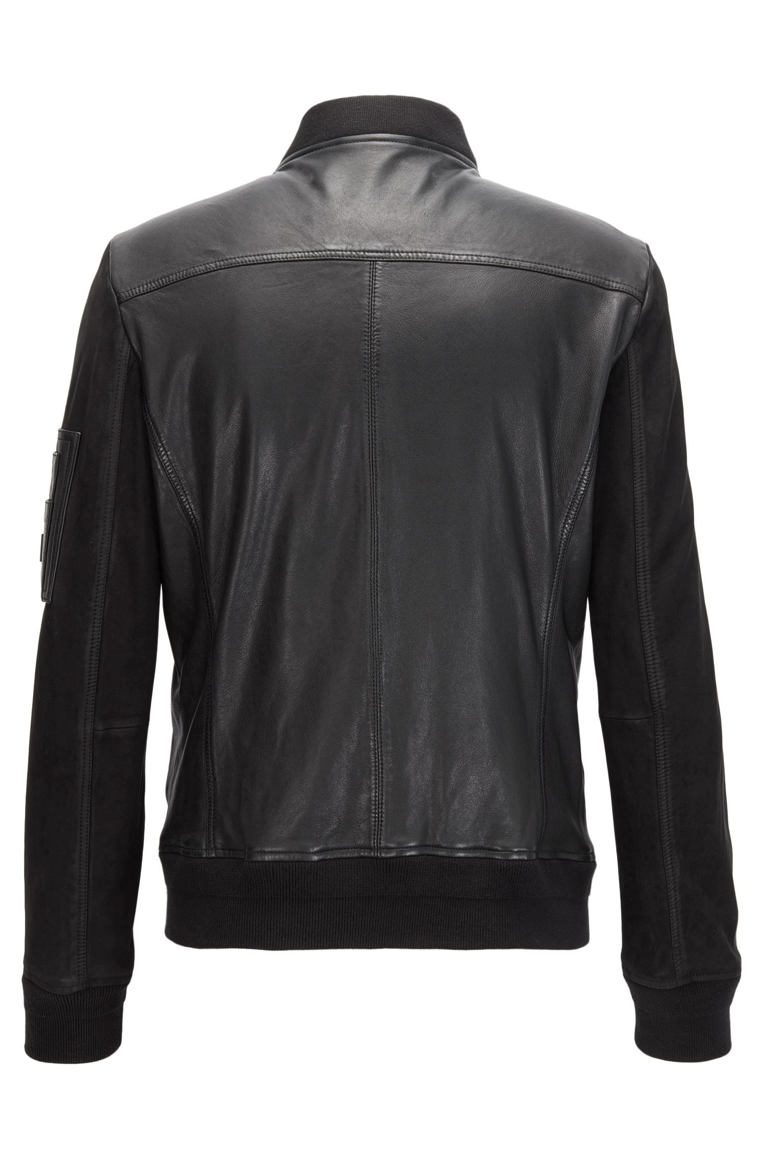 MA-1 bomber jacket in mixed tonal leather