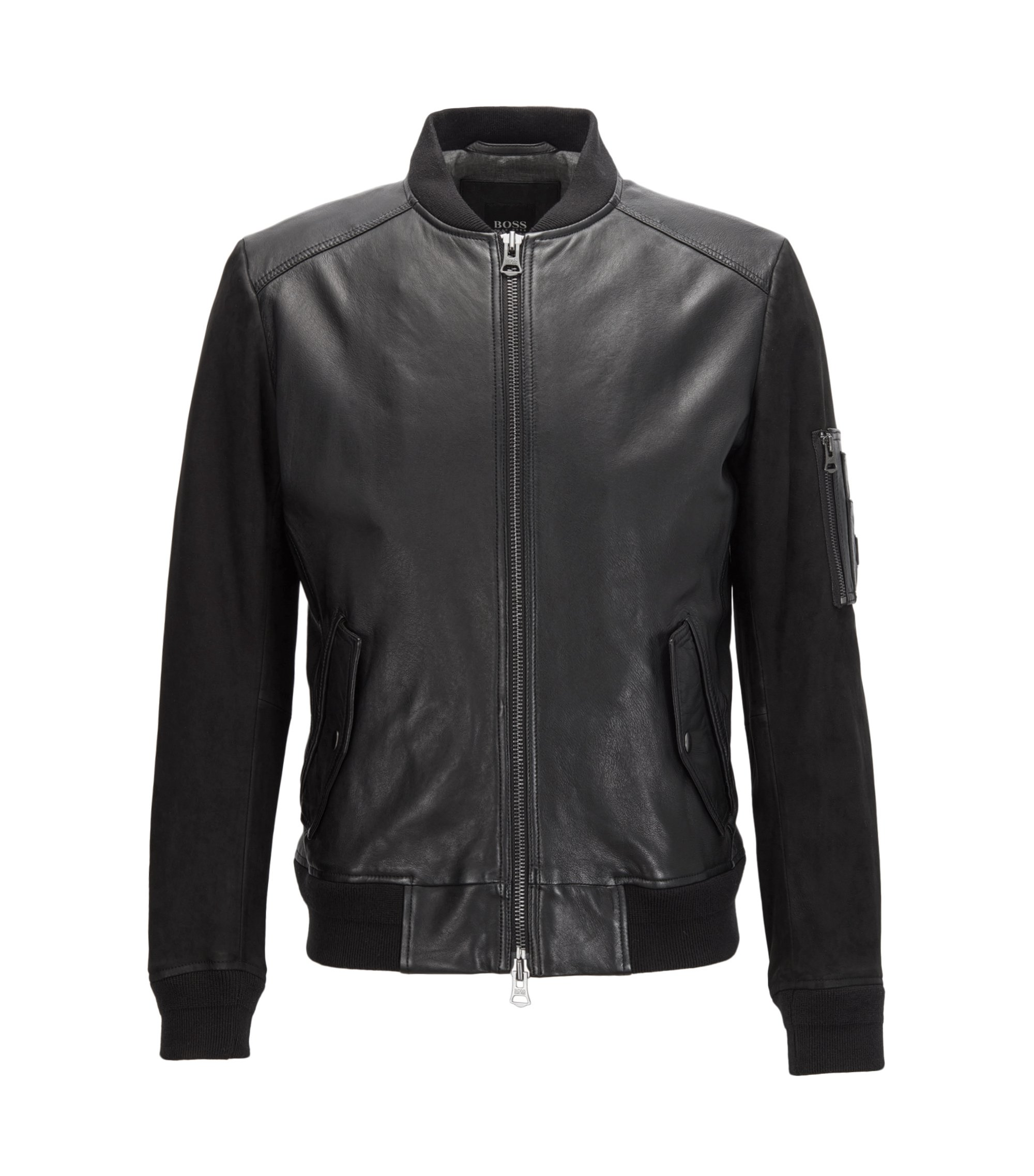 MA-1 bomber jacket in mixed tonal leather, Black