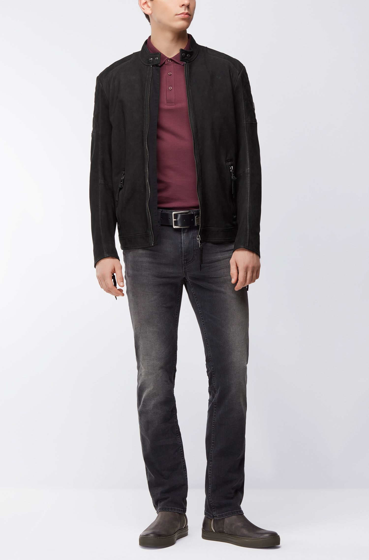 Giubbotto biker slim fit in pelle opaca
