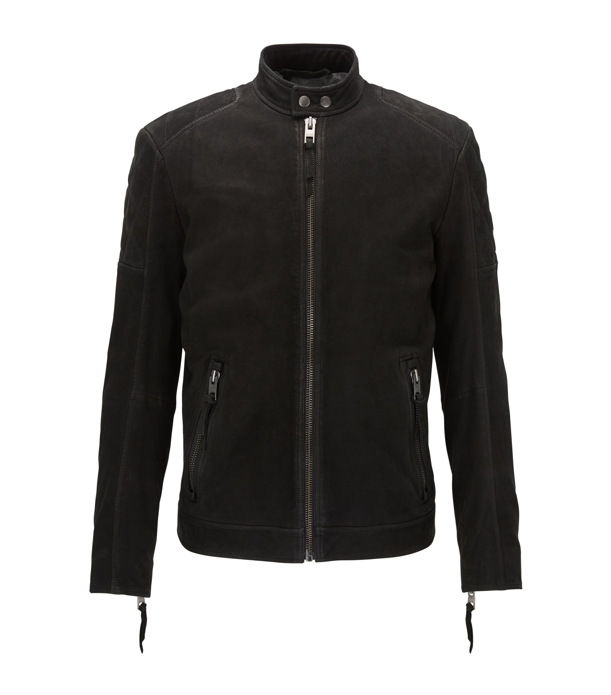Giubbotto biker slim fit in pelle opaca, Nero