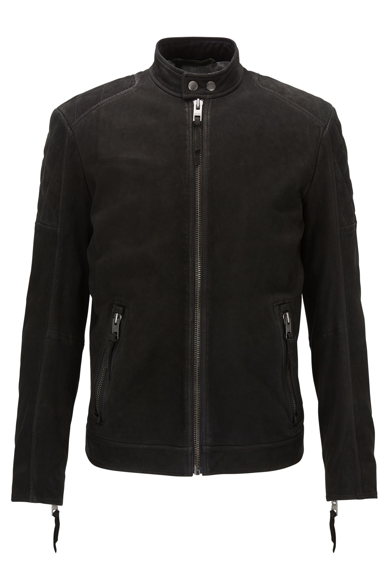 Slim-fit biker jacket in matte leather
