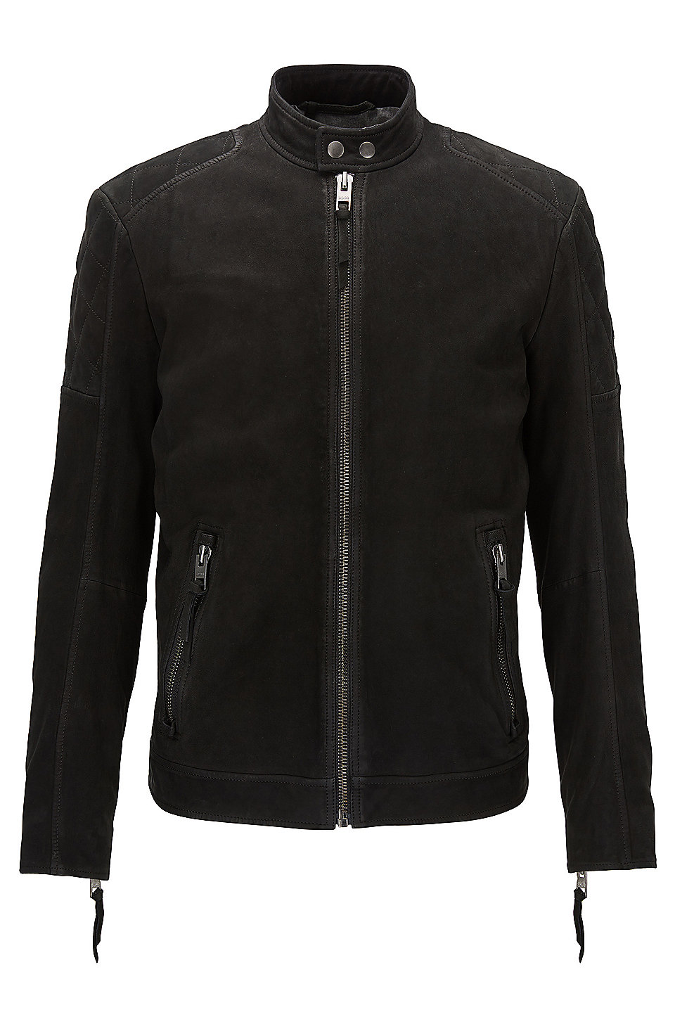 Slim-fit biker jacket in matte leather, Black