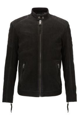 Slim-Fit Bikerjacke aus mattem Leder, Schwarz