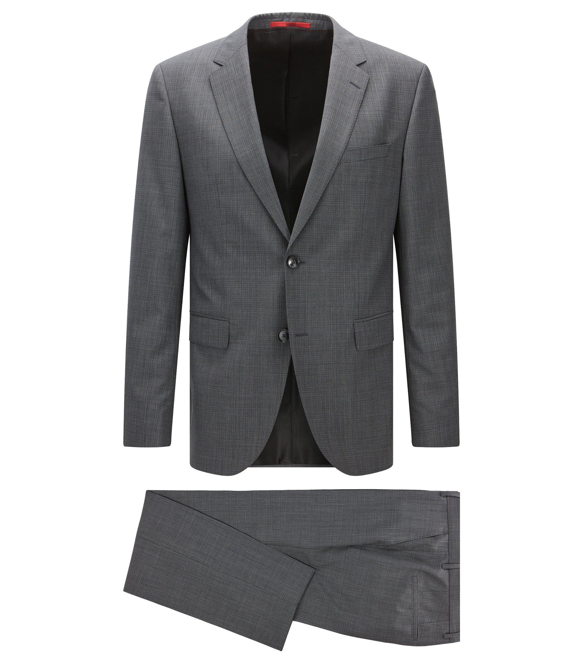 Länger geschnittener Regular-Fit Anzug aus Schurwoll-Mix, Anthrazit