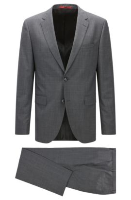 Traje regular fit más largo en mezcla de lana, Gris marengo