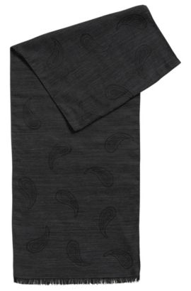 Wool-blend jacquard scarf with paisley pattern, Black
