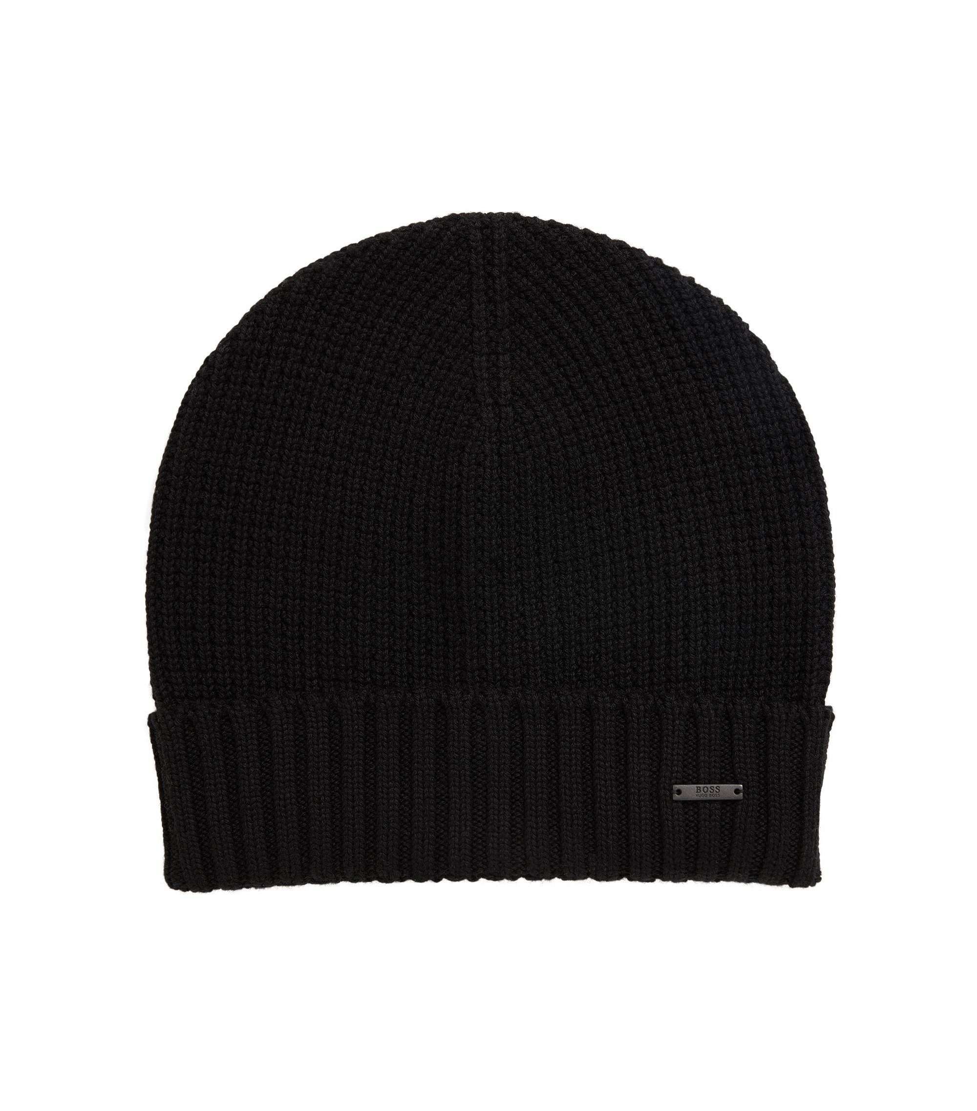 Waffle-knit beanie hat in virgin wool, Black