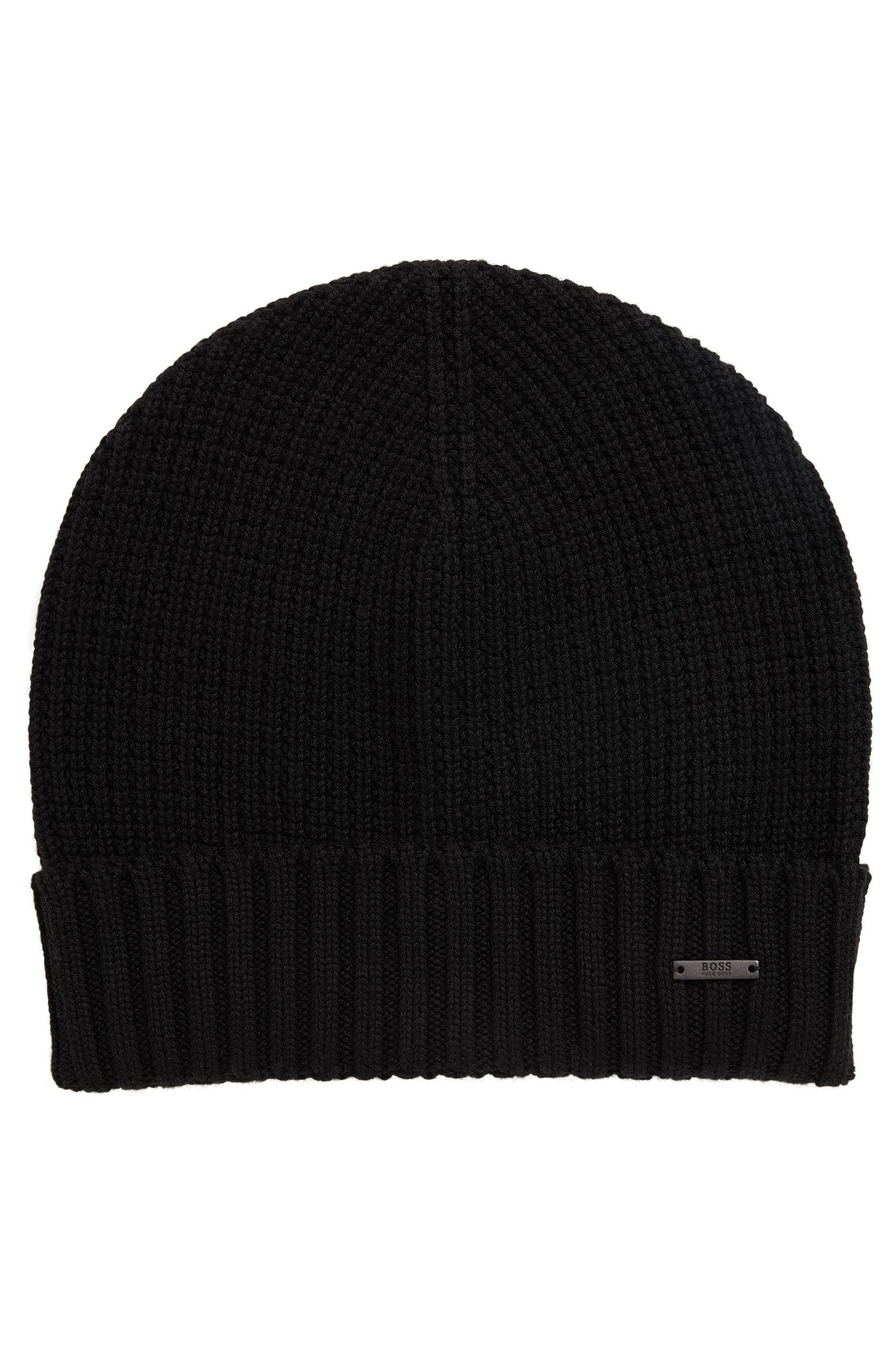 Waffle-knit beanie hat in virgin wool
