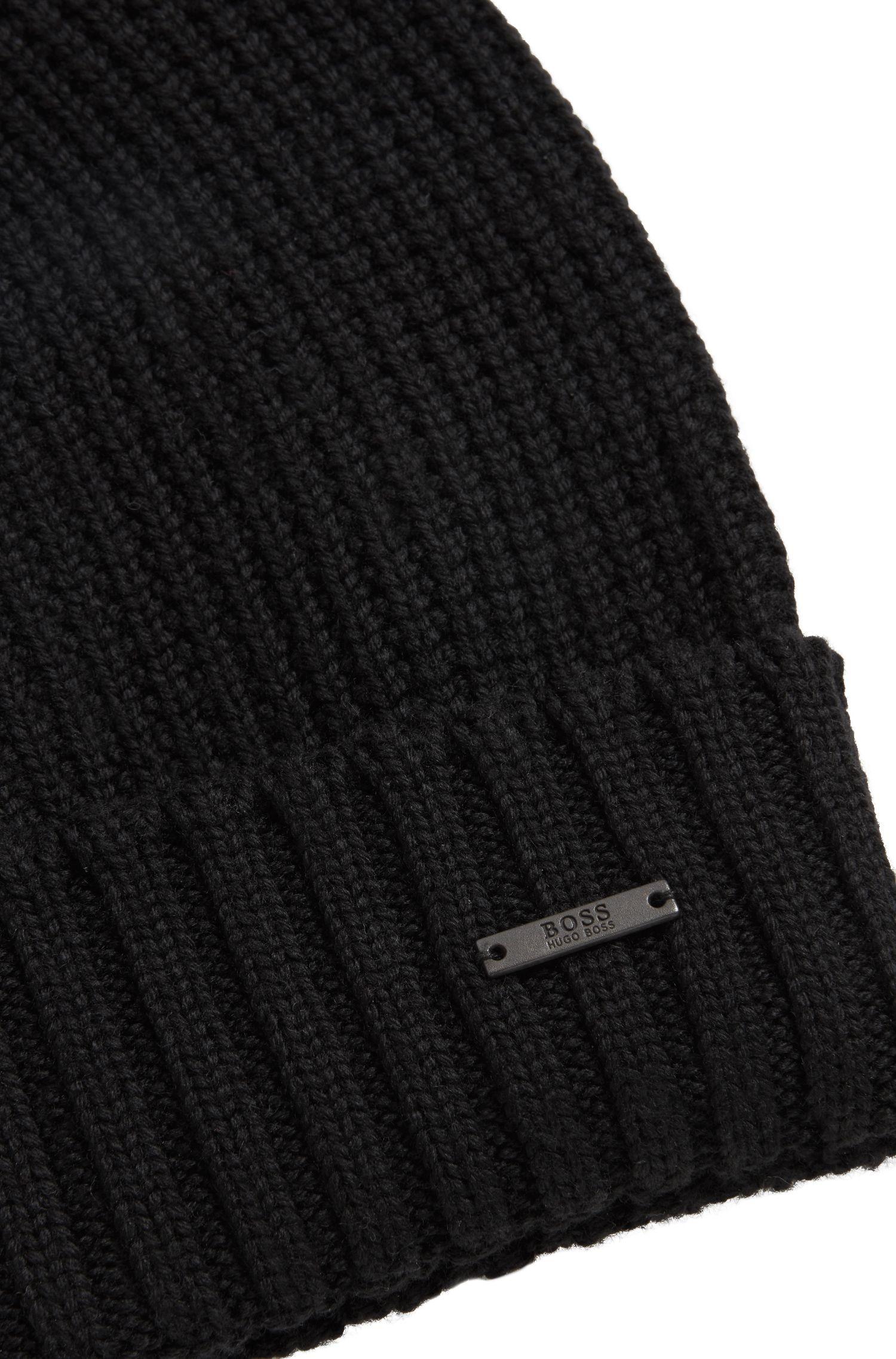Gorro de punto de rejilla en lana virgen